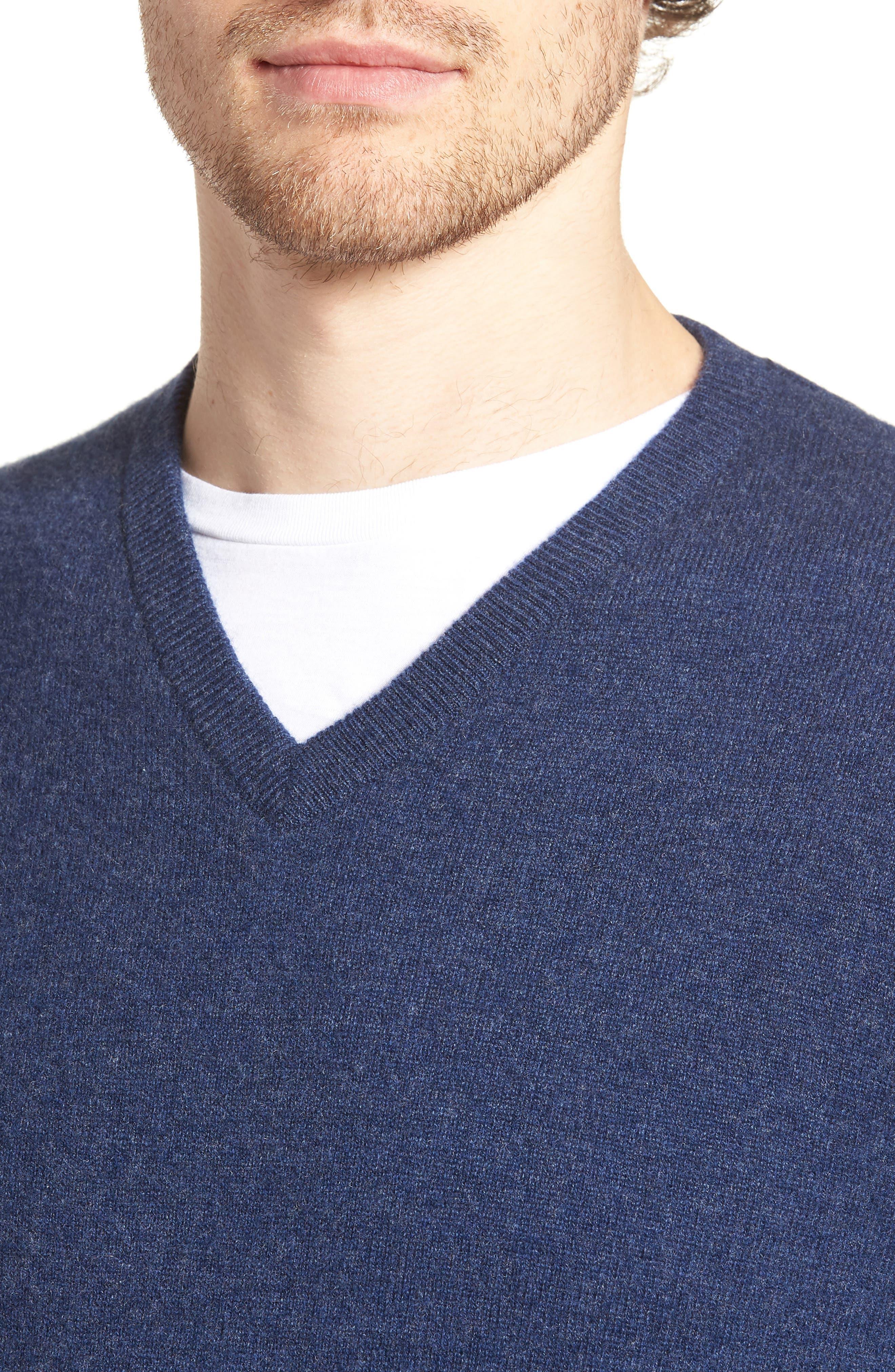 Cashmere V-Neck Sweater,                             Alternate thumbnail 4, color,                             BLUE ESTATE HEATHER