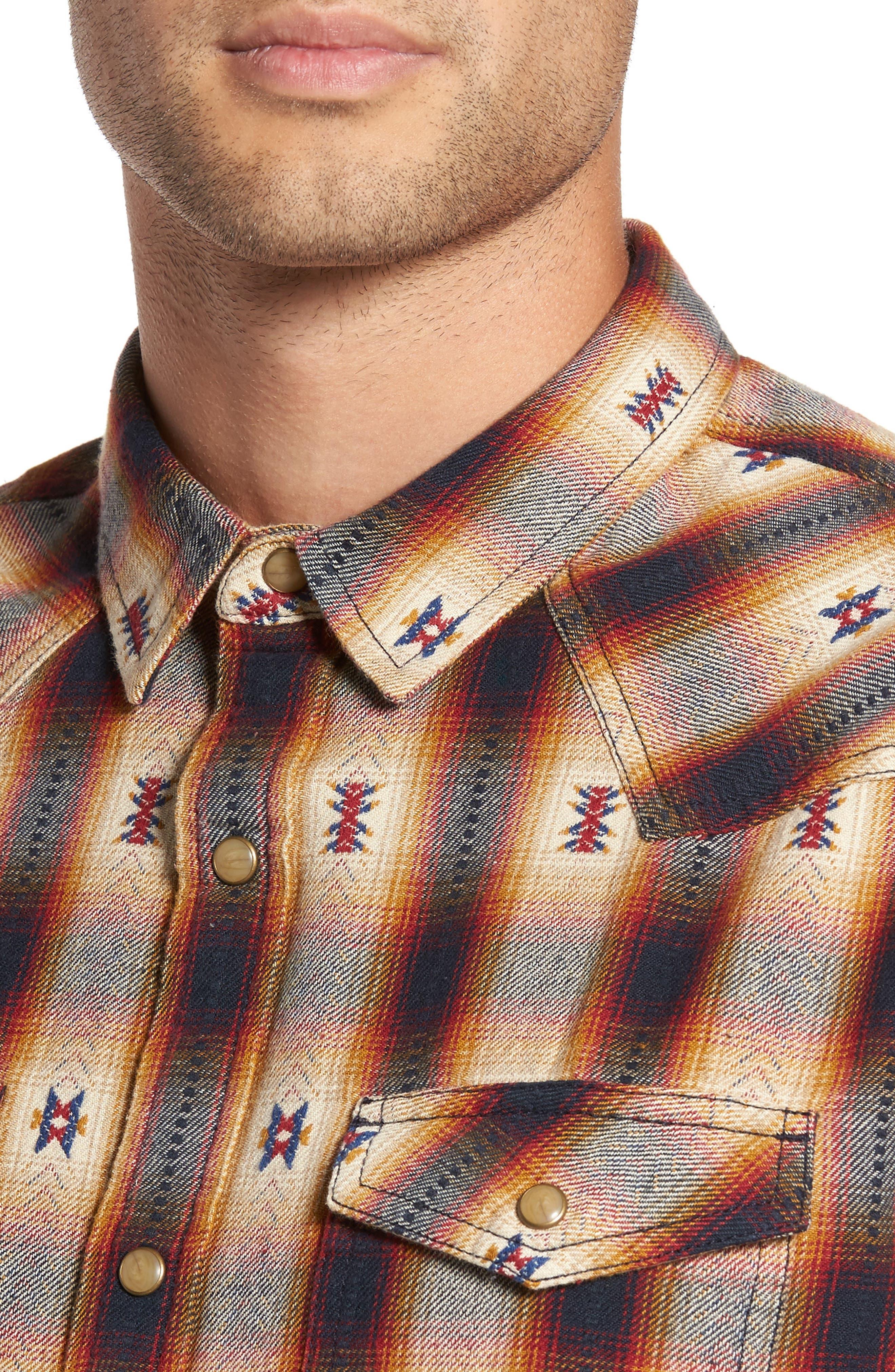 Feliz Dobby Plaid Western Shirt,                             Alternate thumbnail 7, color,