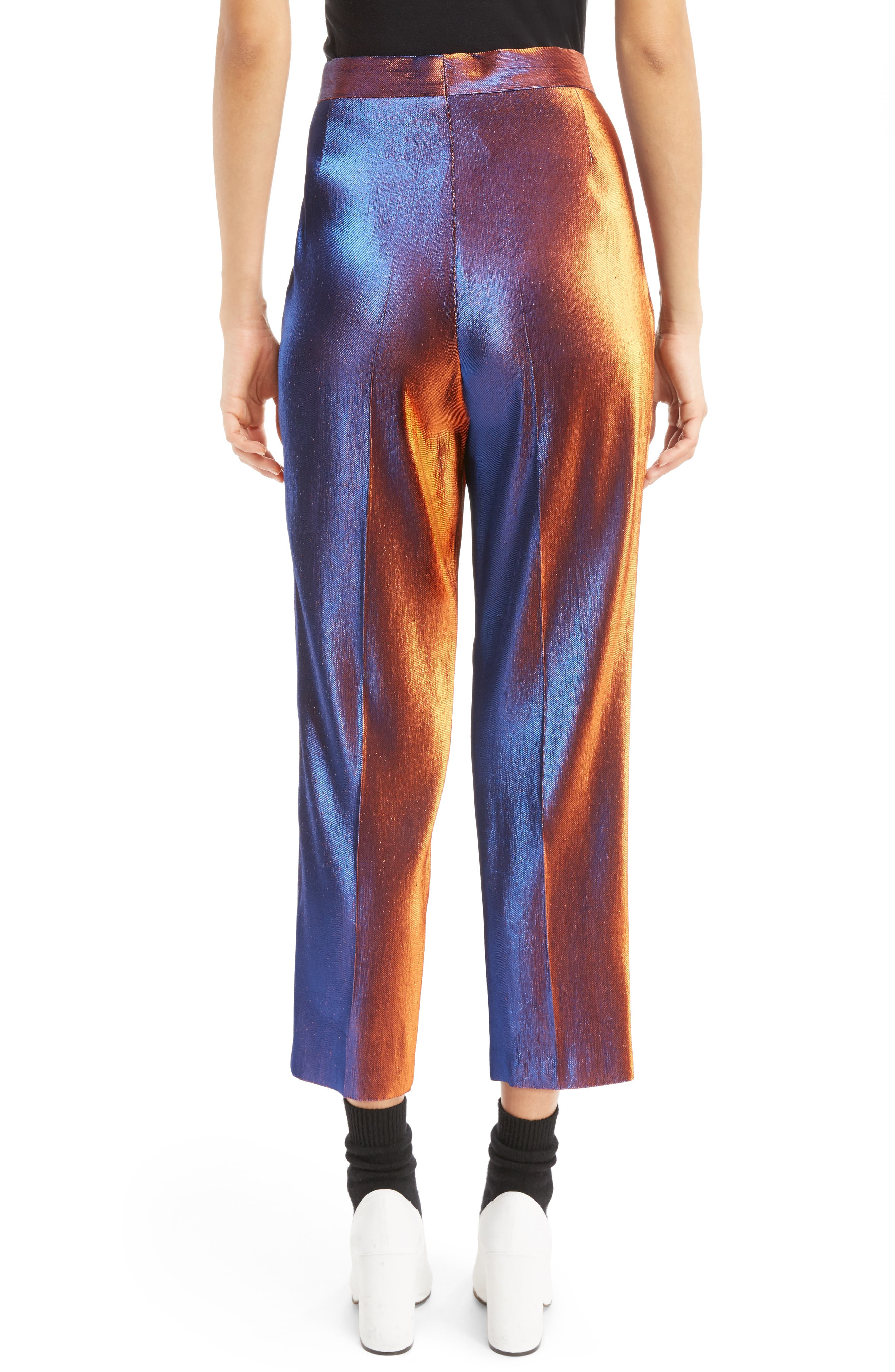 Two-Tone Lamé Crop Trousers,                             Alternate thumbnail 2, color,                             800