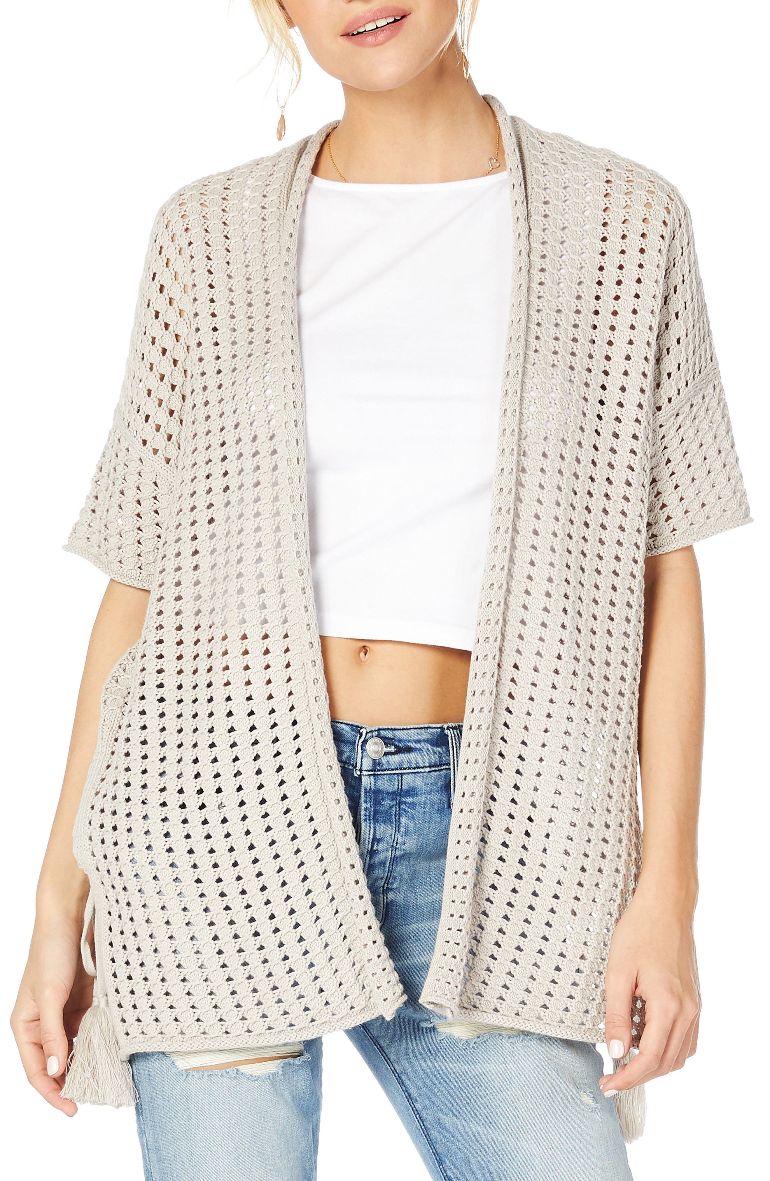 Open Cotton Sweater,                             Main thumbnail 2, color,
