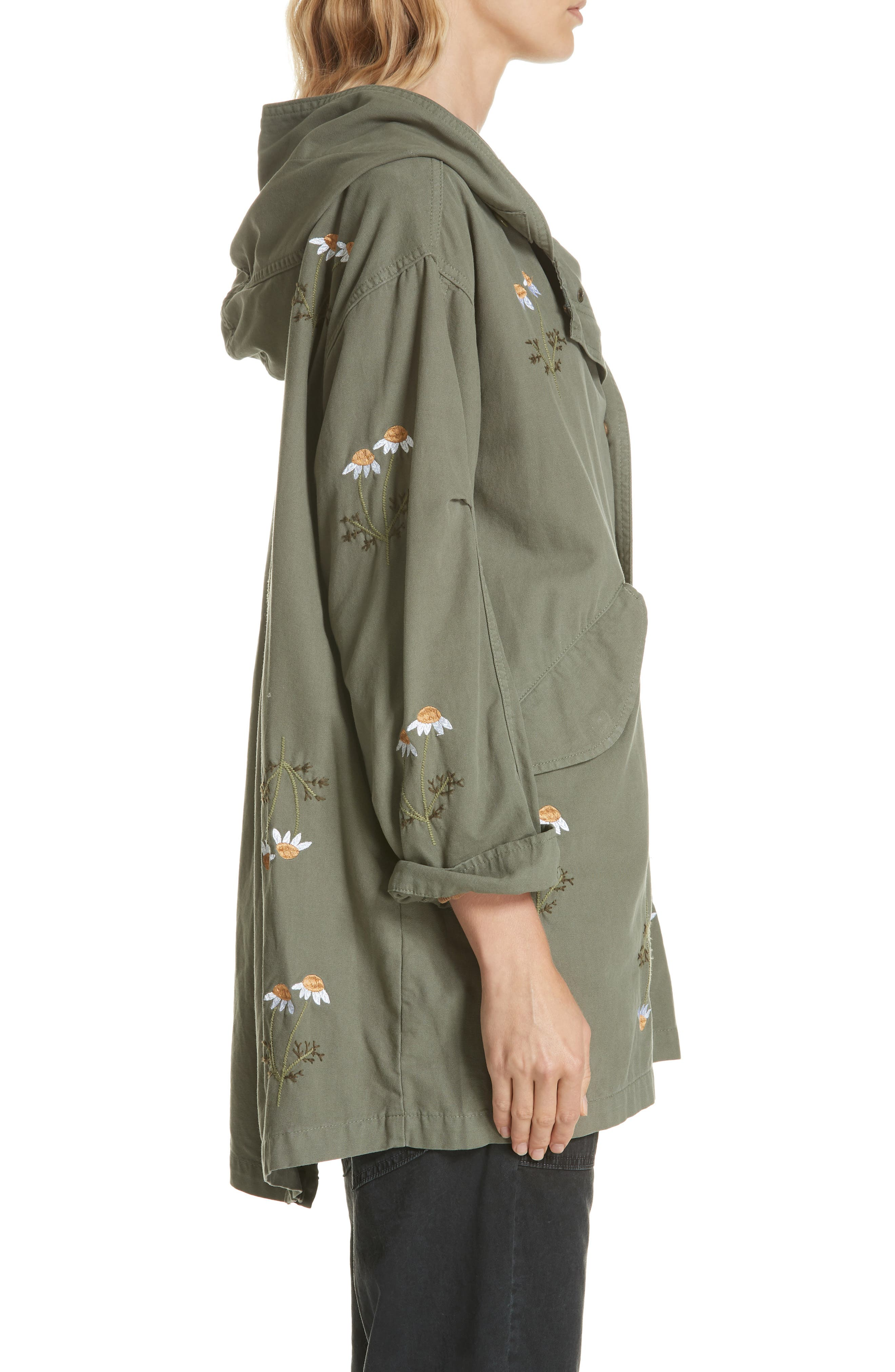 Embroidered Military Parka,                             Alternate thumbnail 3, color,                             ARMY GREEN W/ DAISY