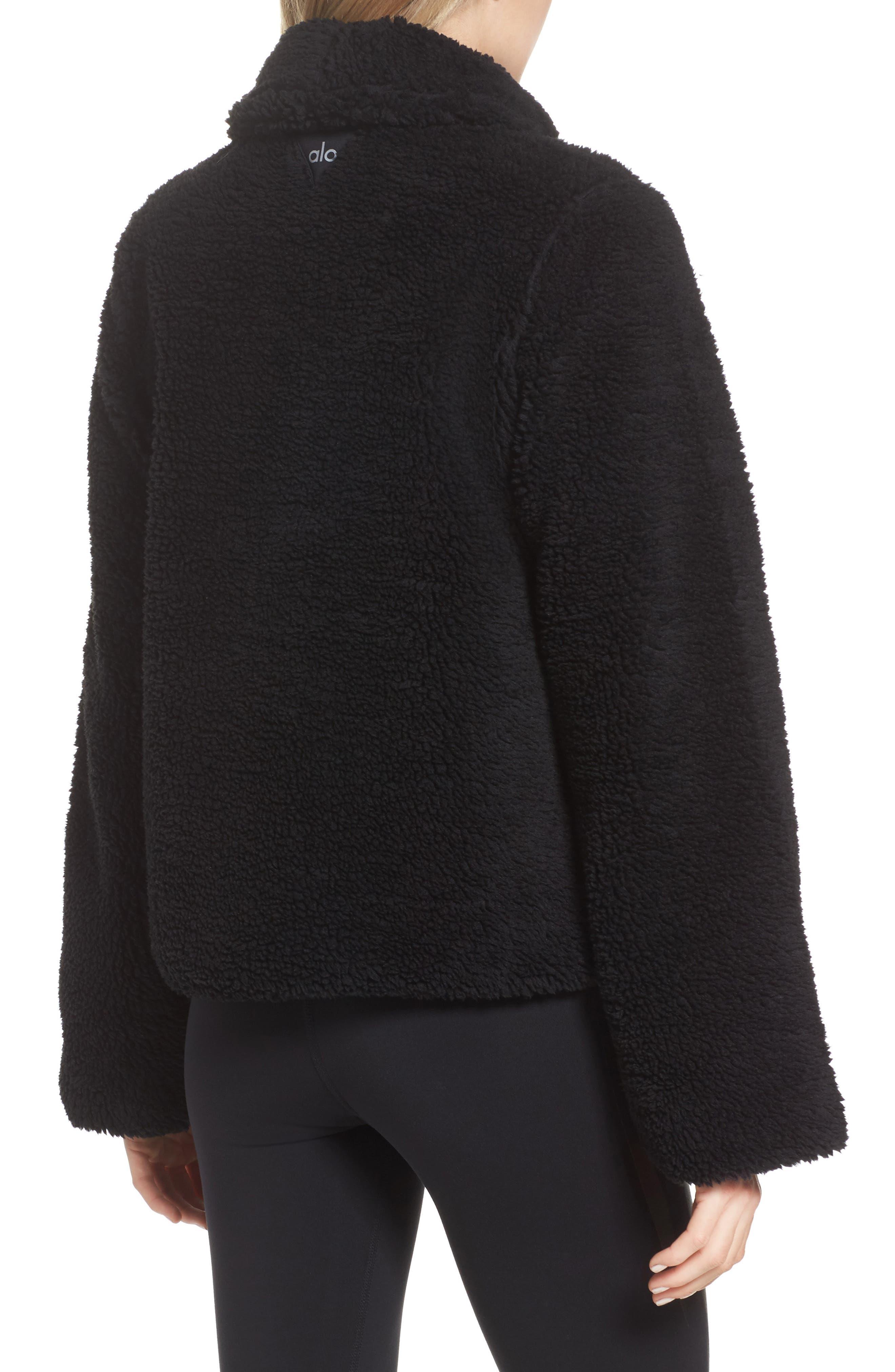 Cozy Up Faux Fur Crop Jacket,                             Alternate thumbnail 2, color,                             BLACK