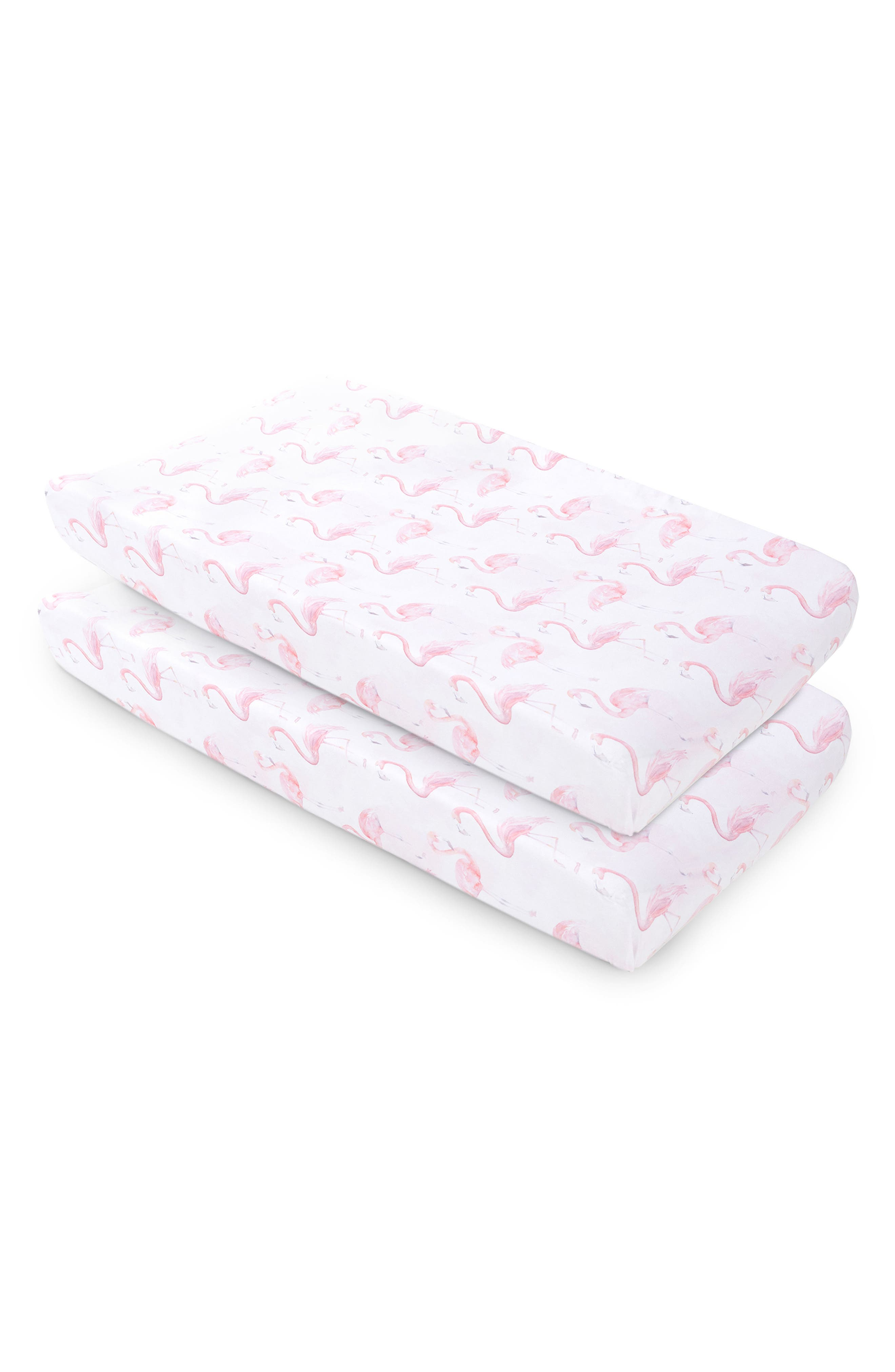 Flamingo Print 2-Pack Changing Pad Covers, Main, color, BLUSH