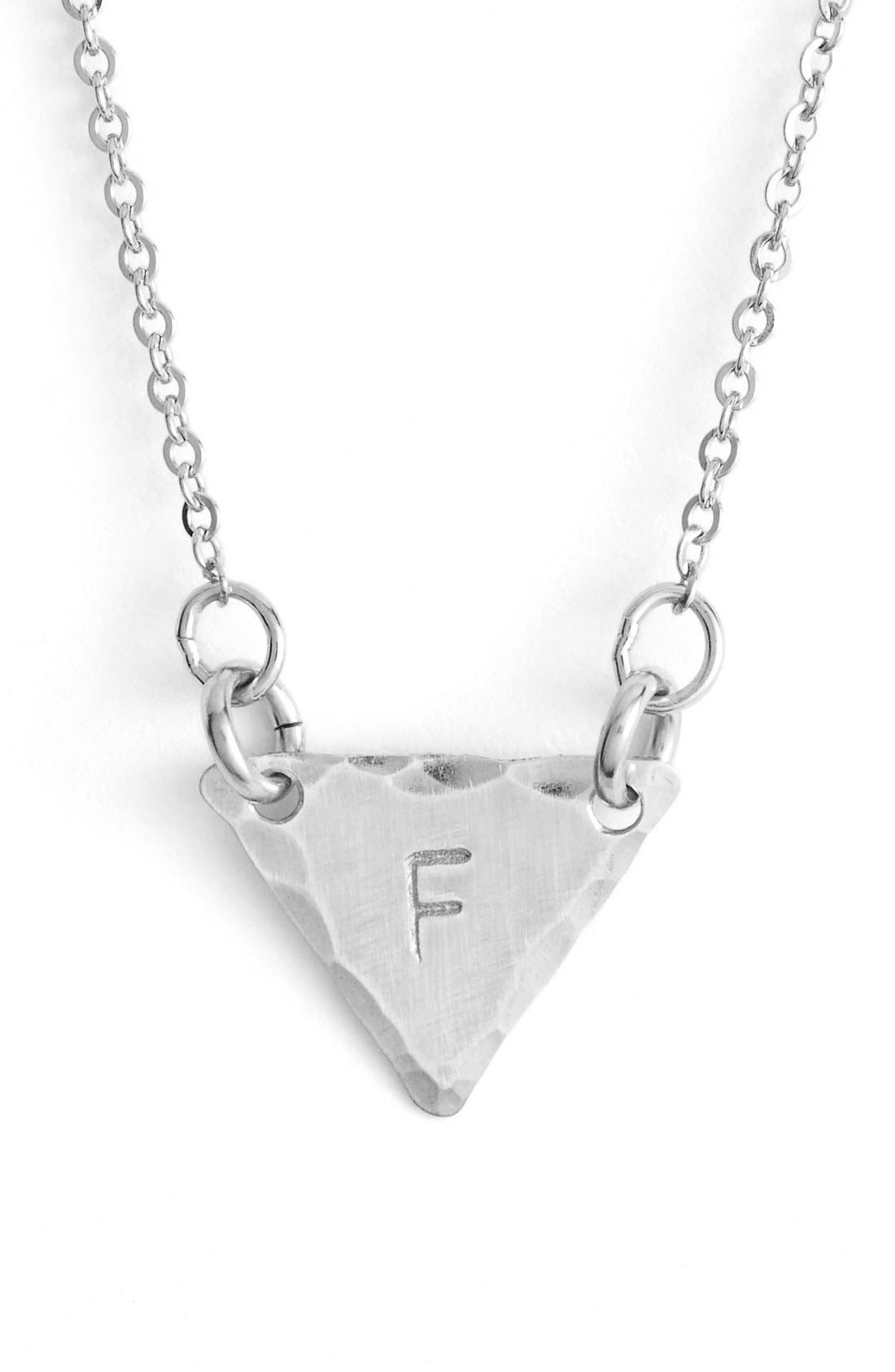 Sterling Silver Initial Mini Triangle Necklace,                             Main thumbnail 6, color,