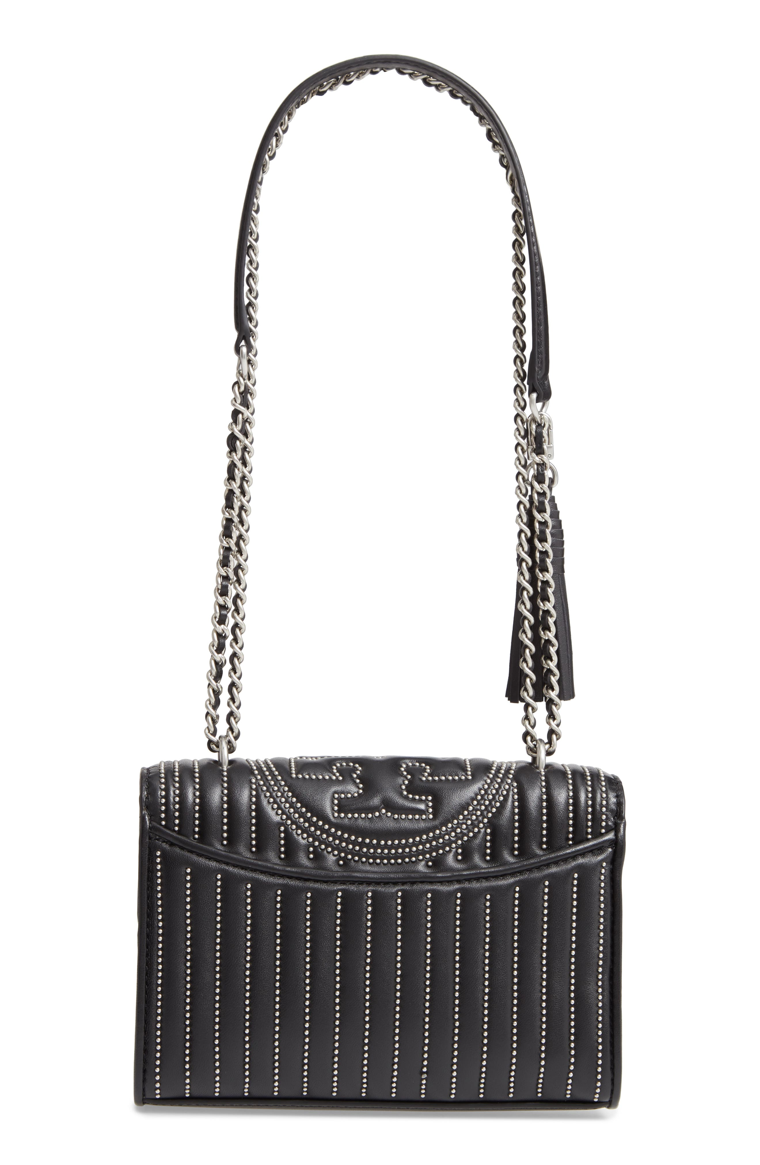 Small Fleming Studded Leather Convertible Shoulder Bag,                             Alternate thumbnail 3, color,                             BLACK / SILVER