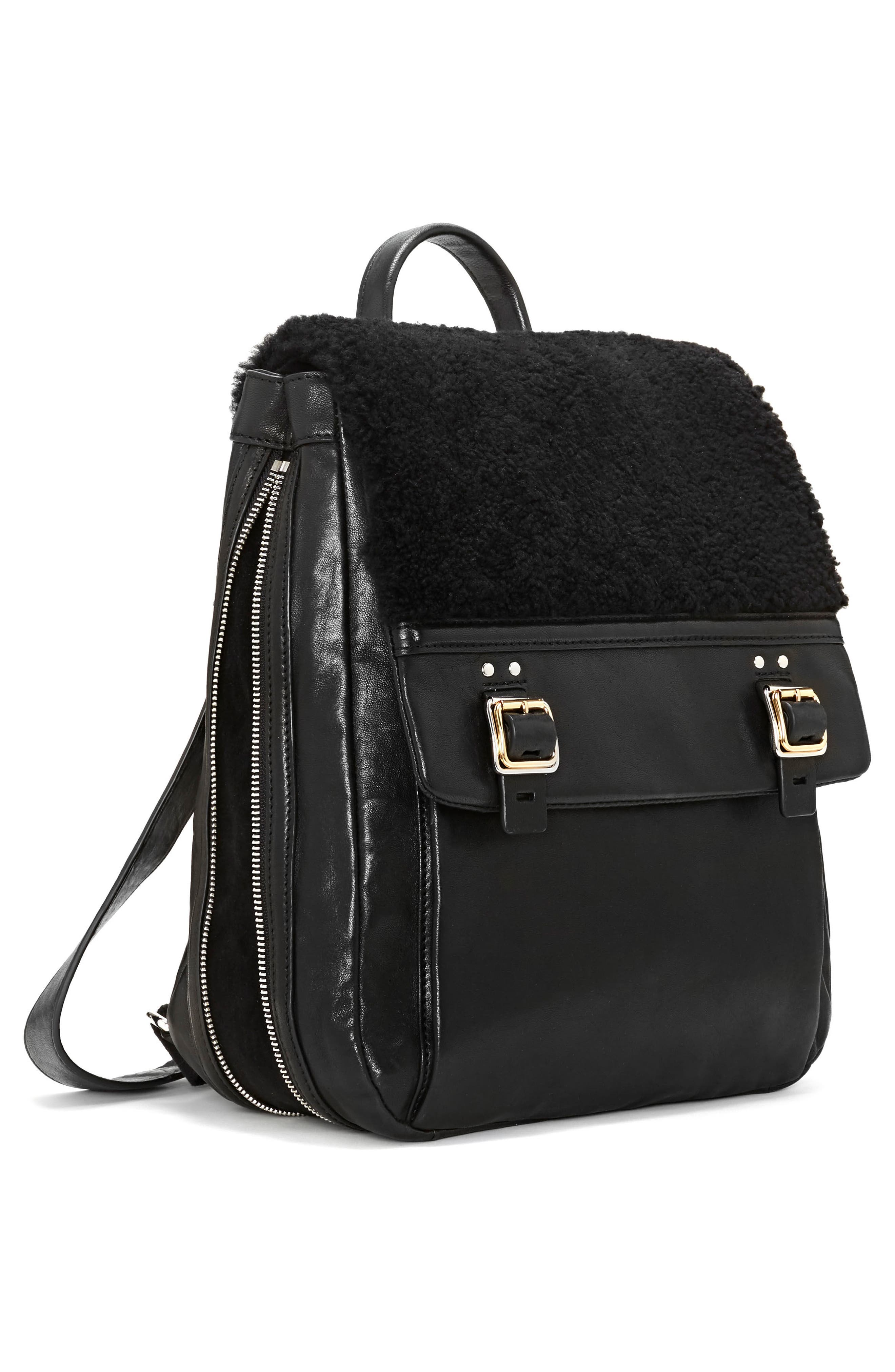 Delos Dome Leather & Genuine Shearling Backpack,                             Alternate thumbnail 4, color,                             002
