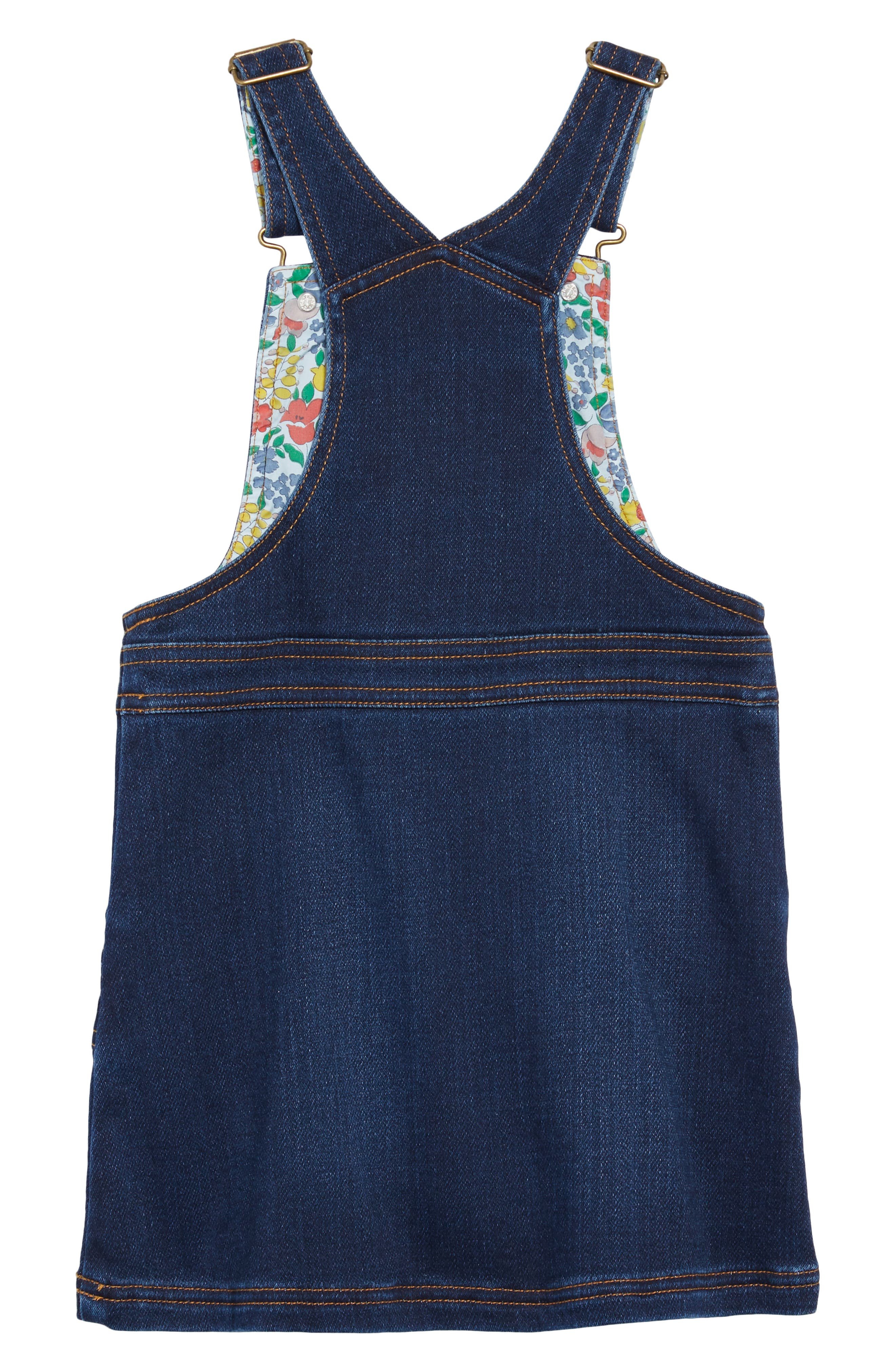 Denim Dungaree Overall Dress,                             Alternate thumbnail 2, color,                             MID VINTAGE