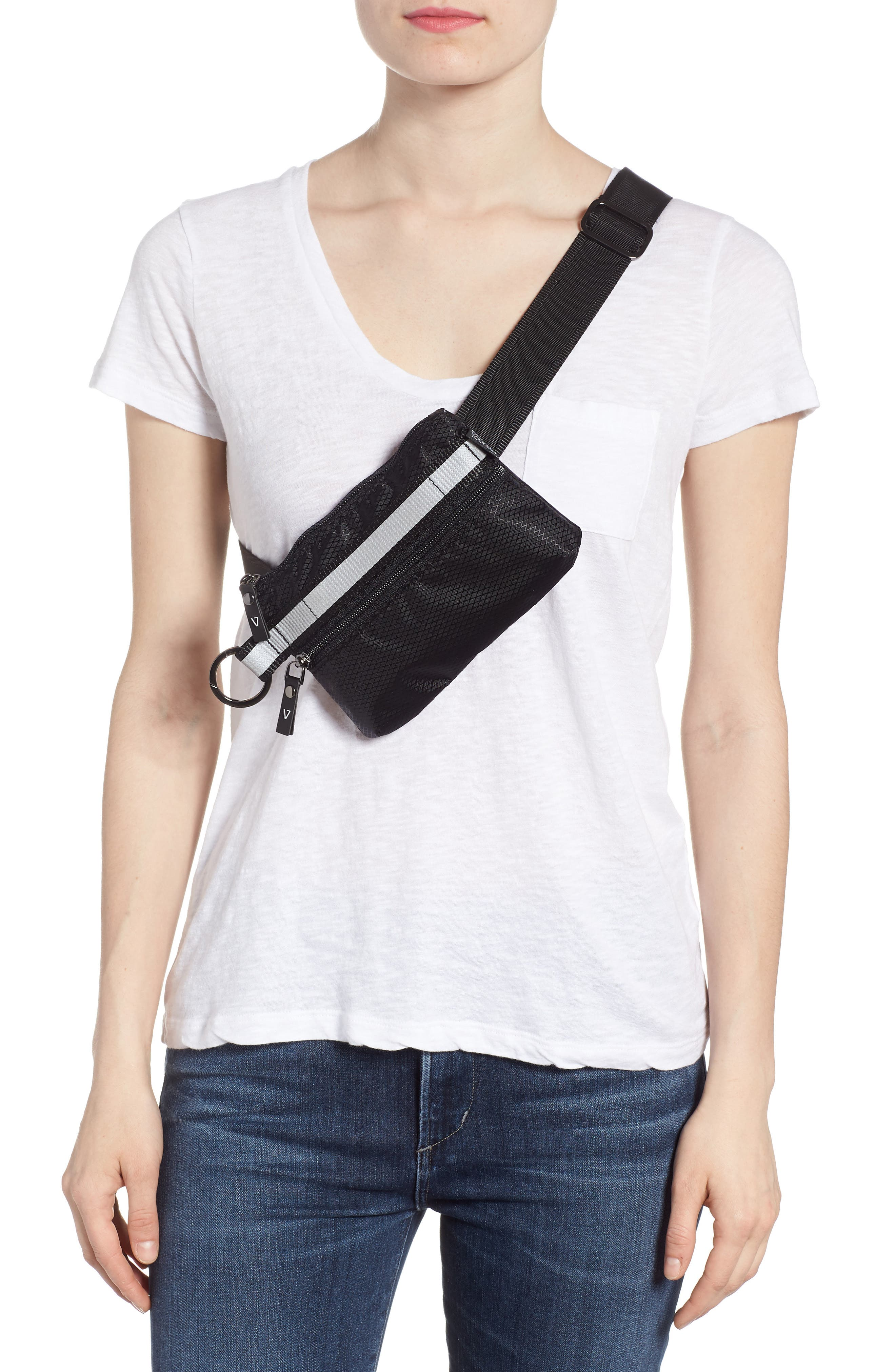 Urban Clutch Convertible Belt Bag,                             Alternate thumbnail 3, color,                             BLACK/ REFLECTIVE STRIPE