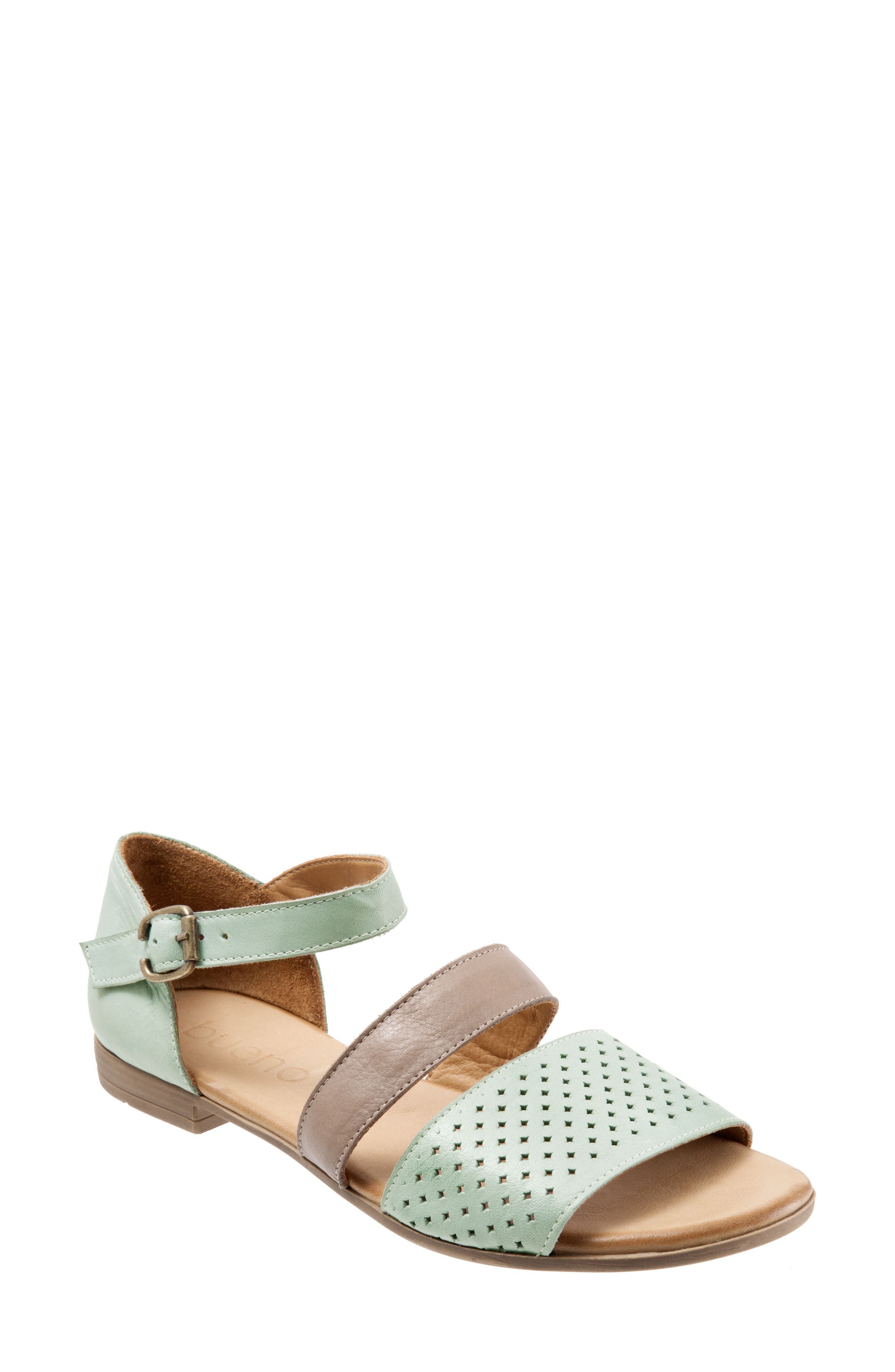 Bueno Janet Perforated Flat Sandal - Green