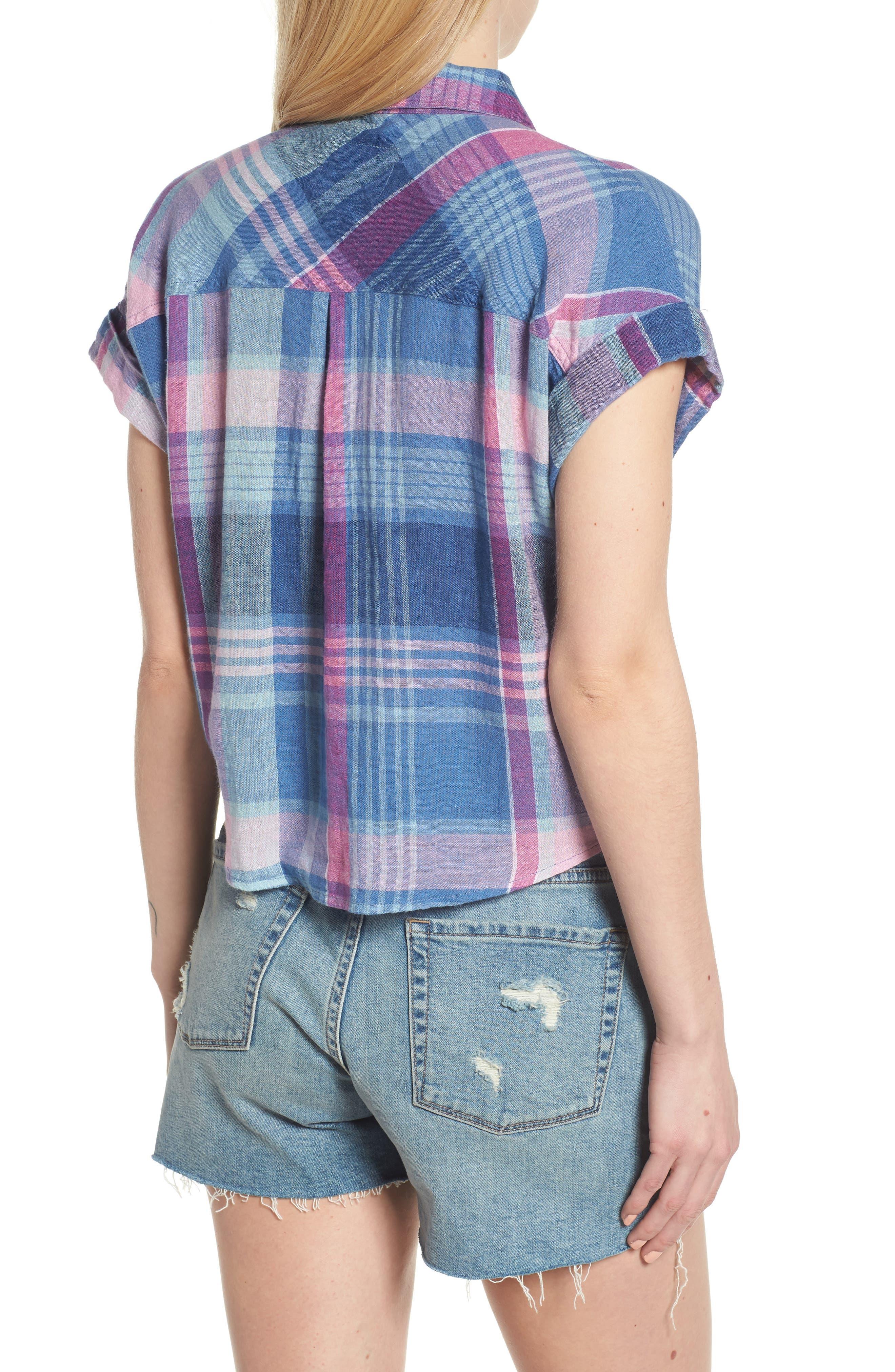 Amelie Tie Front Shirt,                             Alternate thumbnail 2, color,                             LAGUNA COAST AZALEA