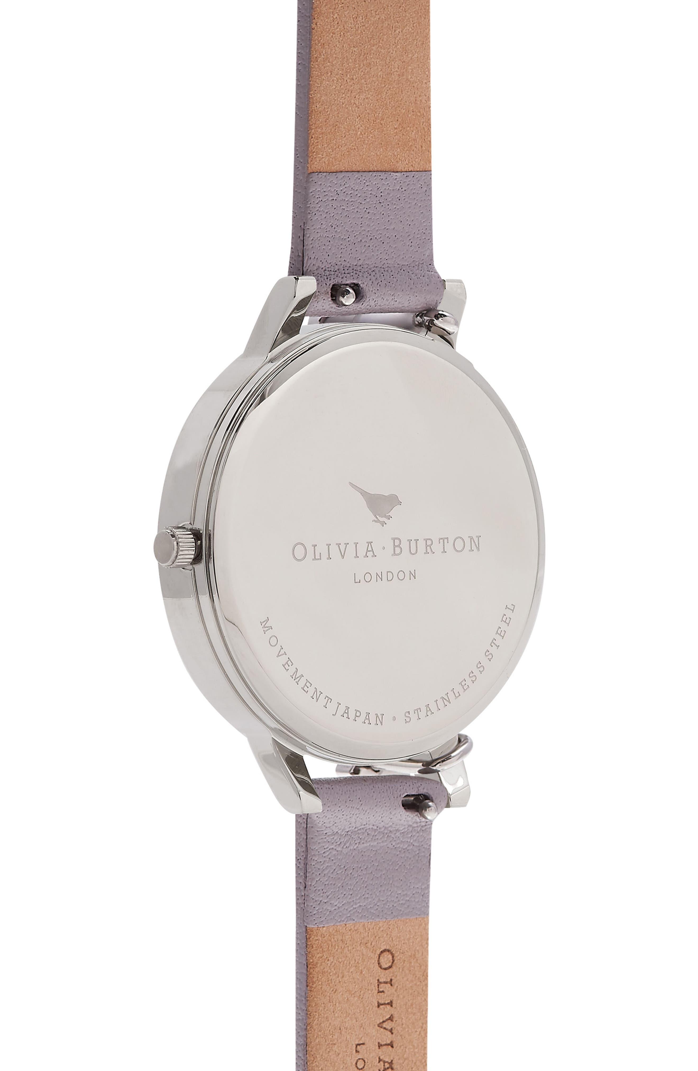 Case Cuff Leather Strap Watch, 38mm,                             Alternate thumbnail 2, color,                             GREY LILAC/ WHITE/ SILVER