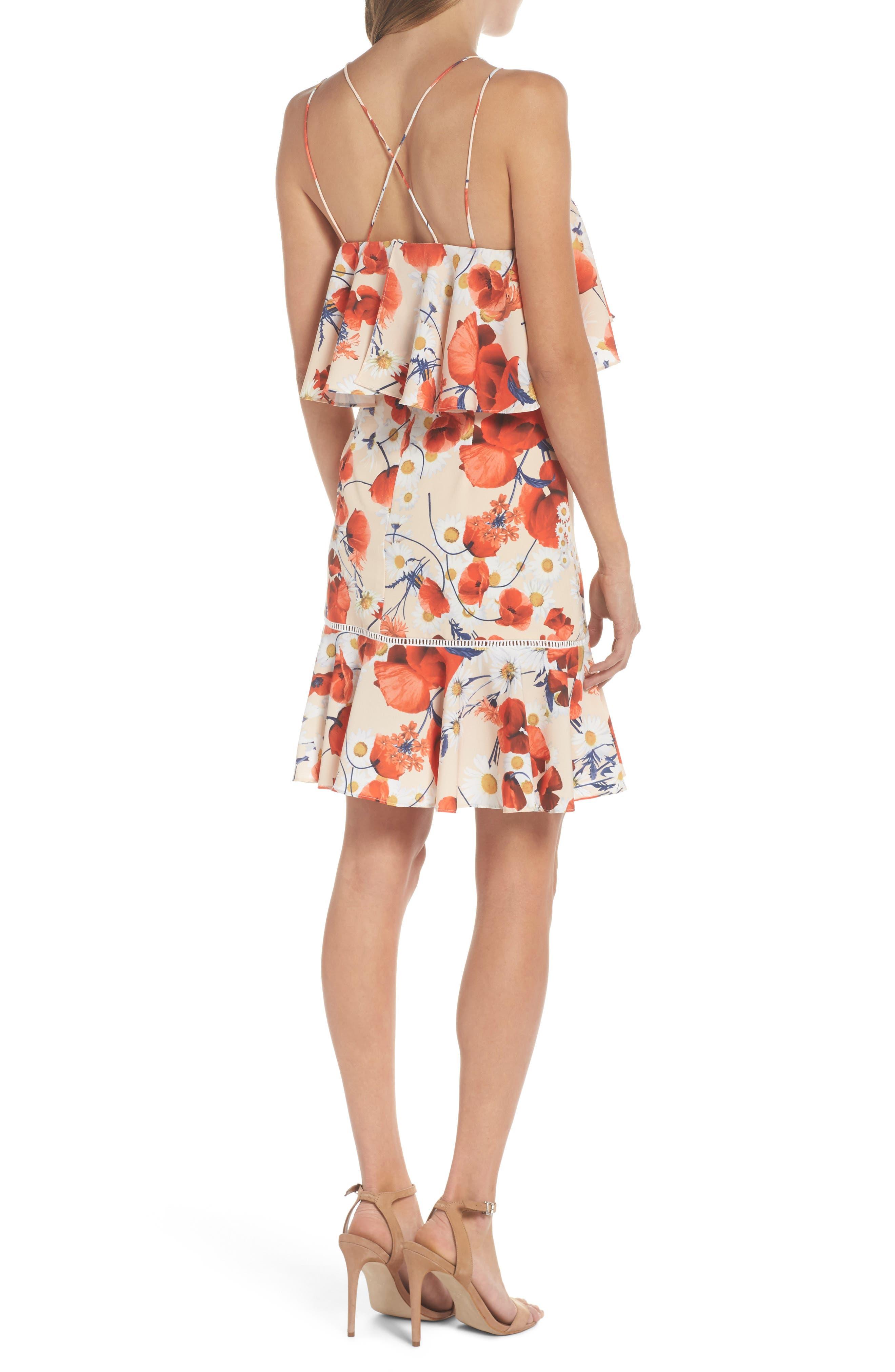 Lola Printed Poplin Dress,                             Alternate thumbnail 2, color,                             CORAL FLORAL