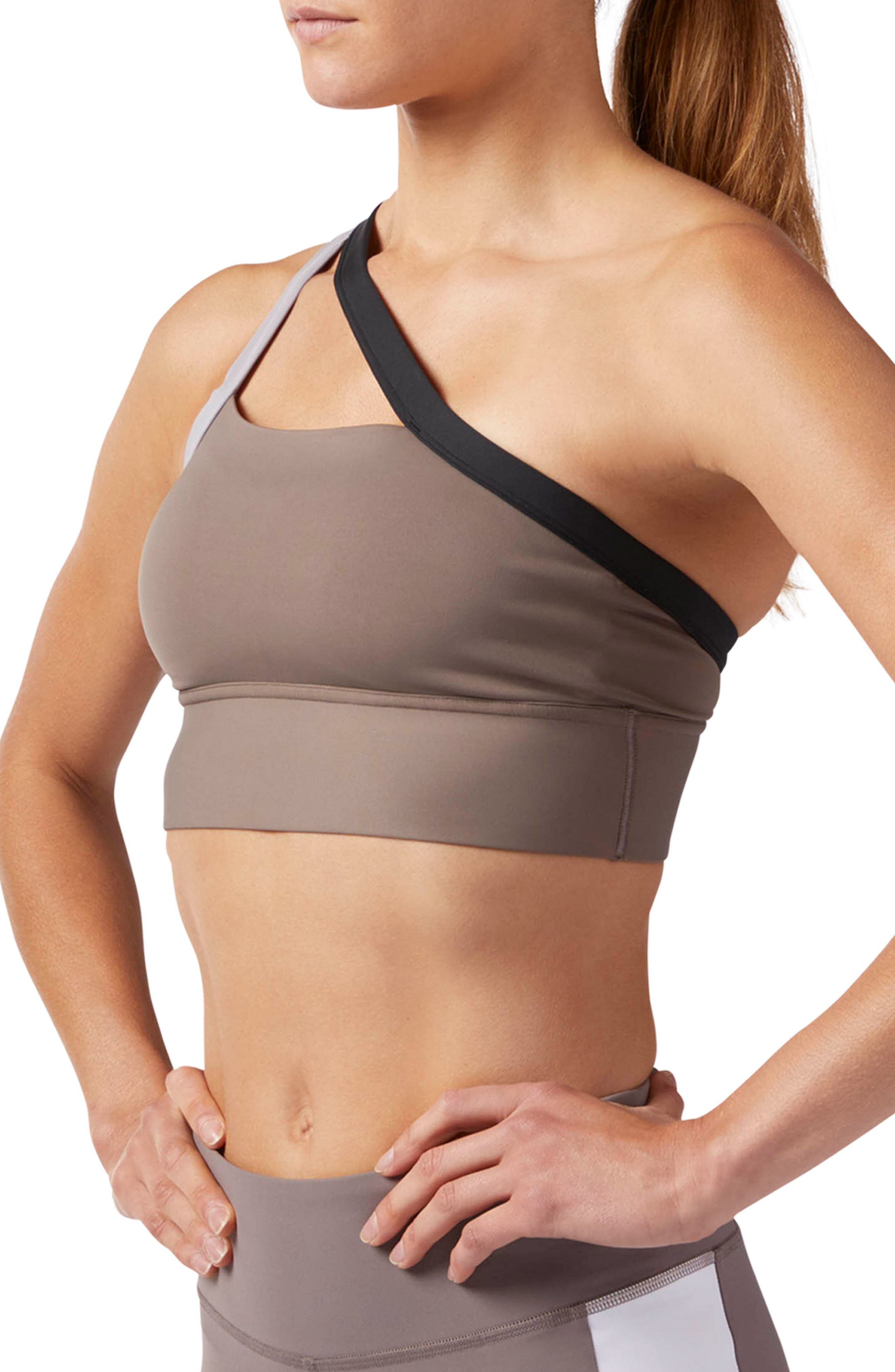 One-Shoulder Sports Bra,                             Alternate thumbnail 3, color,                             SMOKY TAUPE S18-R