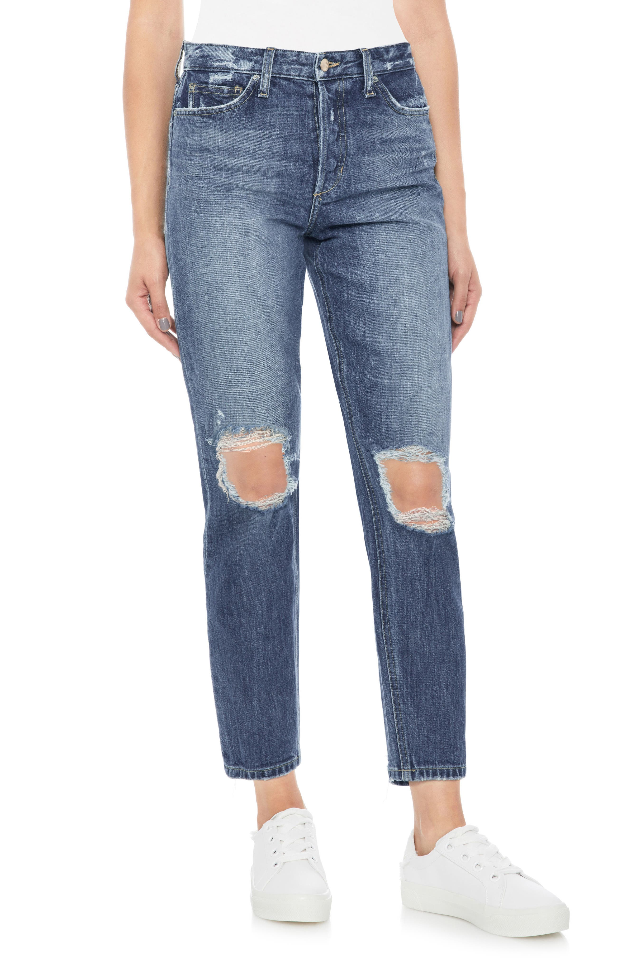 Smith Ripped High Waist Ankle Jeans,                             Main thumbnail 1, color,                             LANNAH
