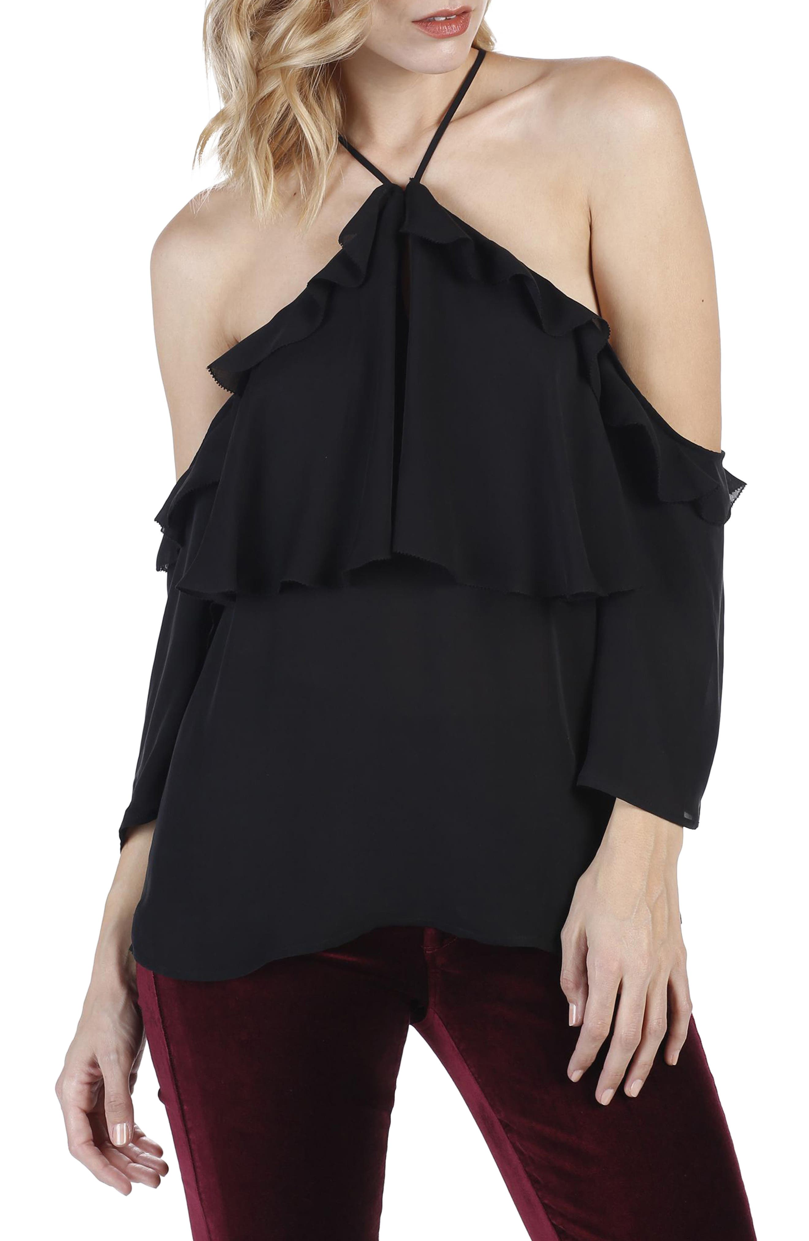 Luciana Off the Shoulder Silk Top,                             Main thumbnail 1, color,                             001