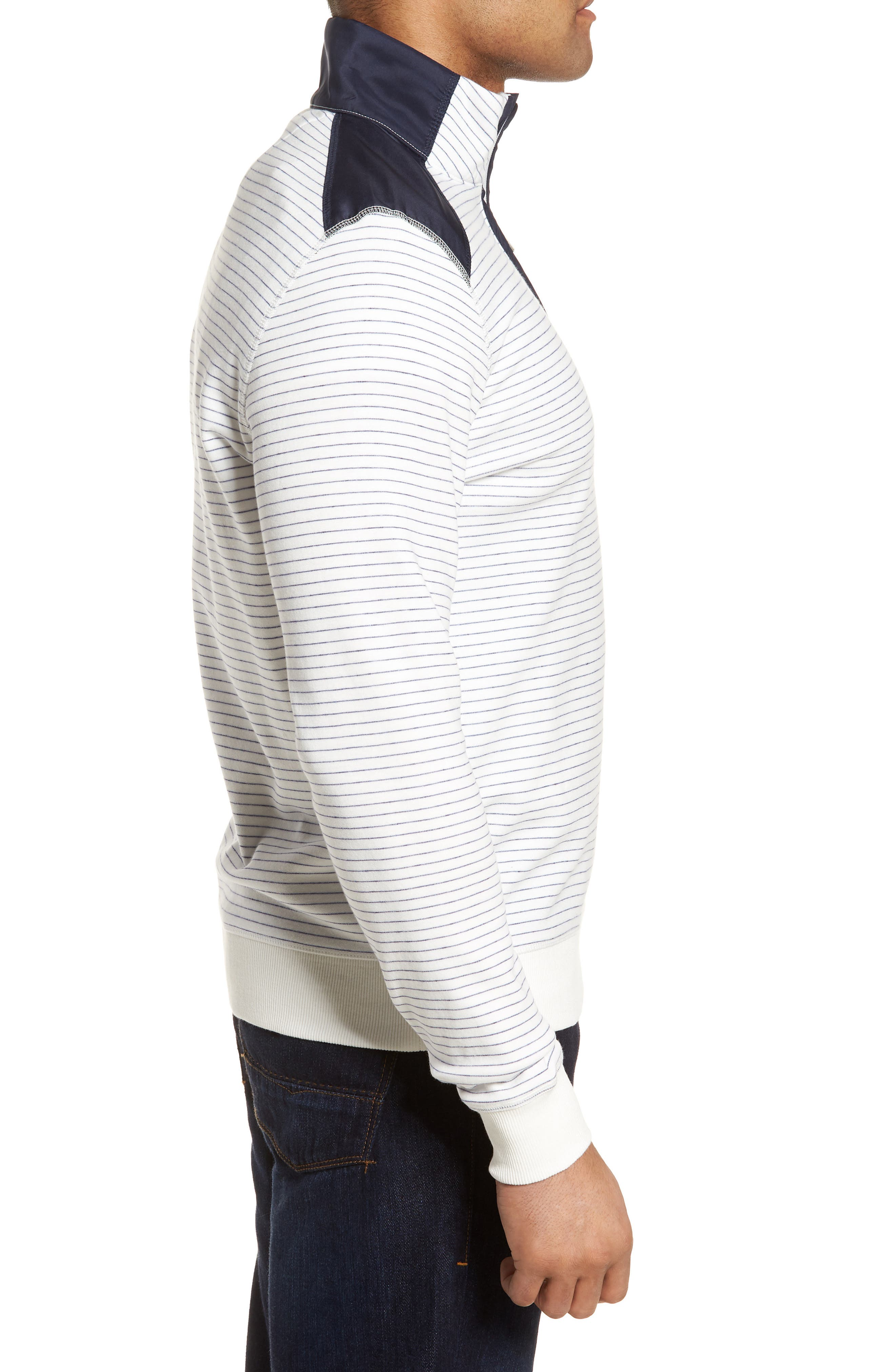 Regular Fit Stripe Quarter Zip Pullover,                             Alternate thumbnail 13, color,