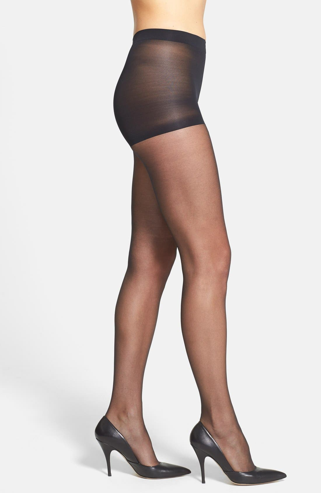 'Ultra Bare - Infinite Sheer' Control Top Pantyhose,                             Main thumbnail 1, color,                             BLACK