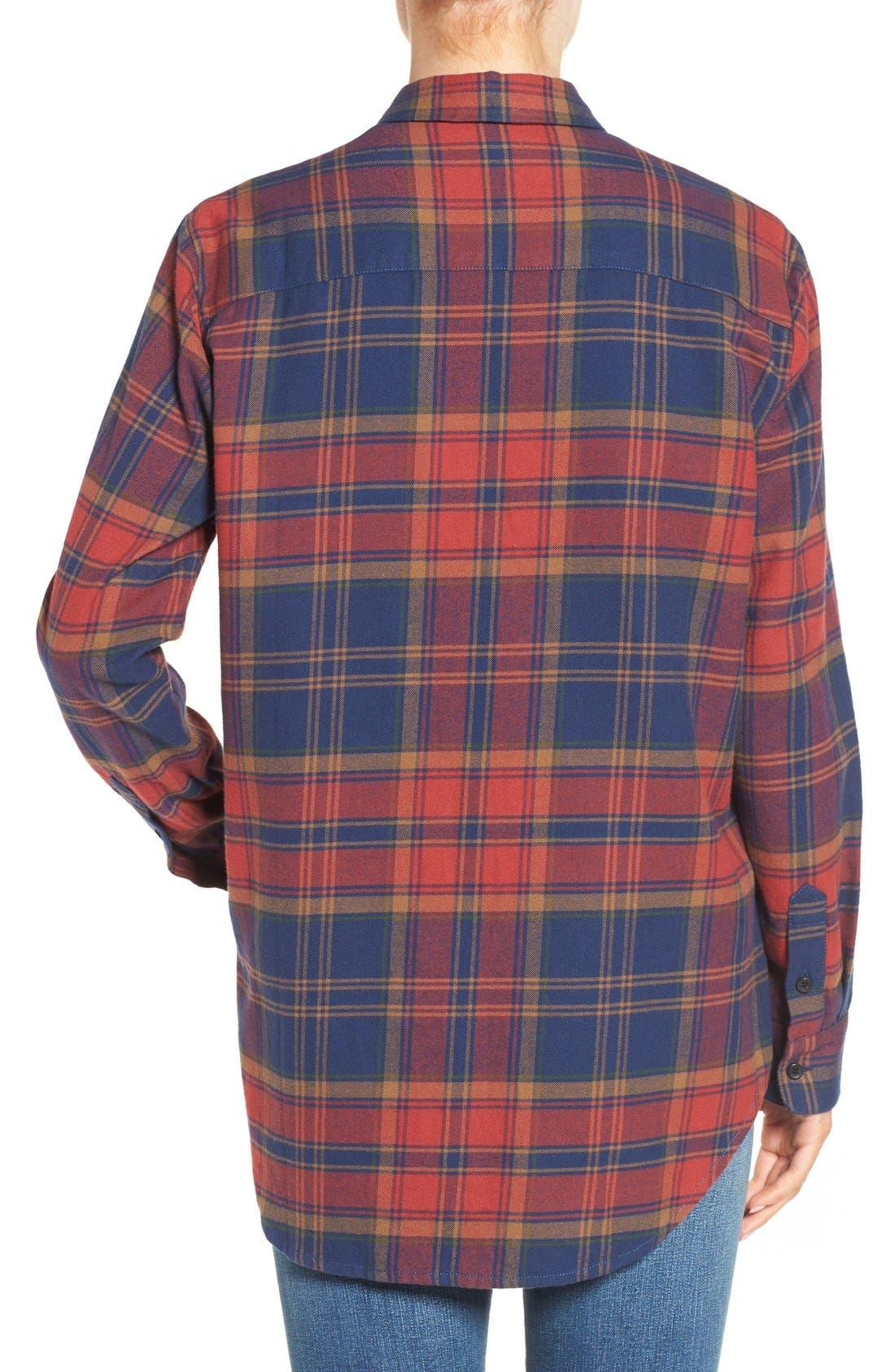 Ex-Boyfriend Shrunken Flannel Boyfriend Shirt,                             Alternate thumbnail 3, color,                             650