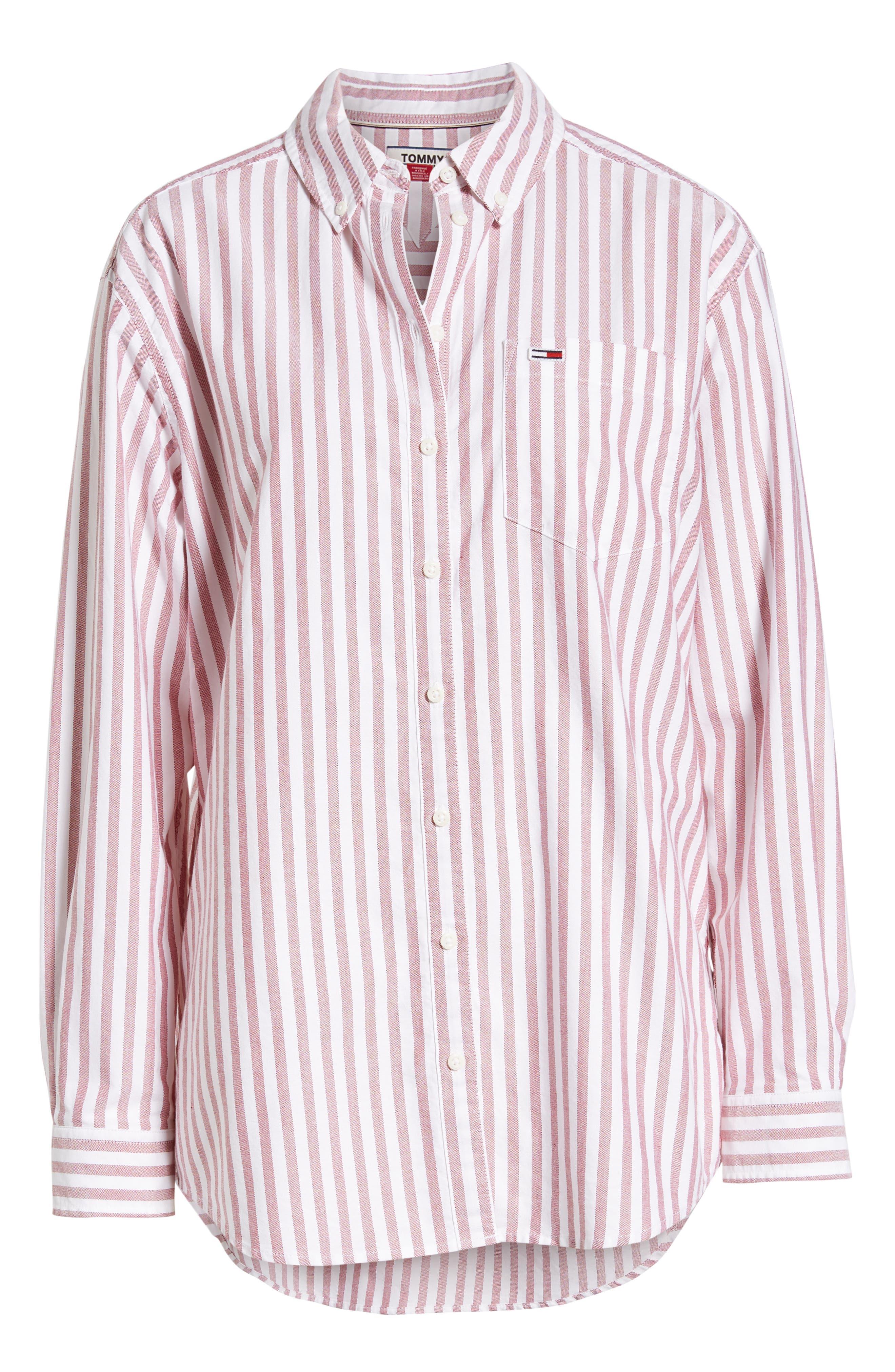 TJW Classics Stripe Shirt,                             Alternate thumbnail 6, color,                             RUMBA RED / BRIGHT WHITE