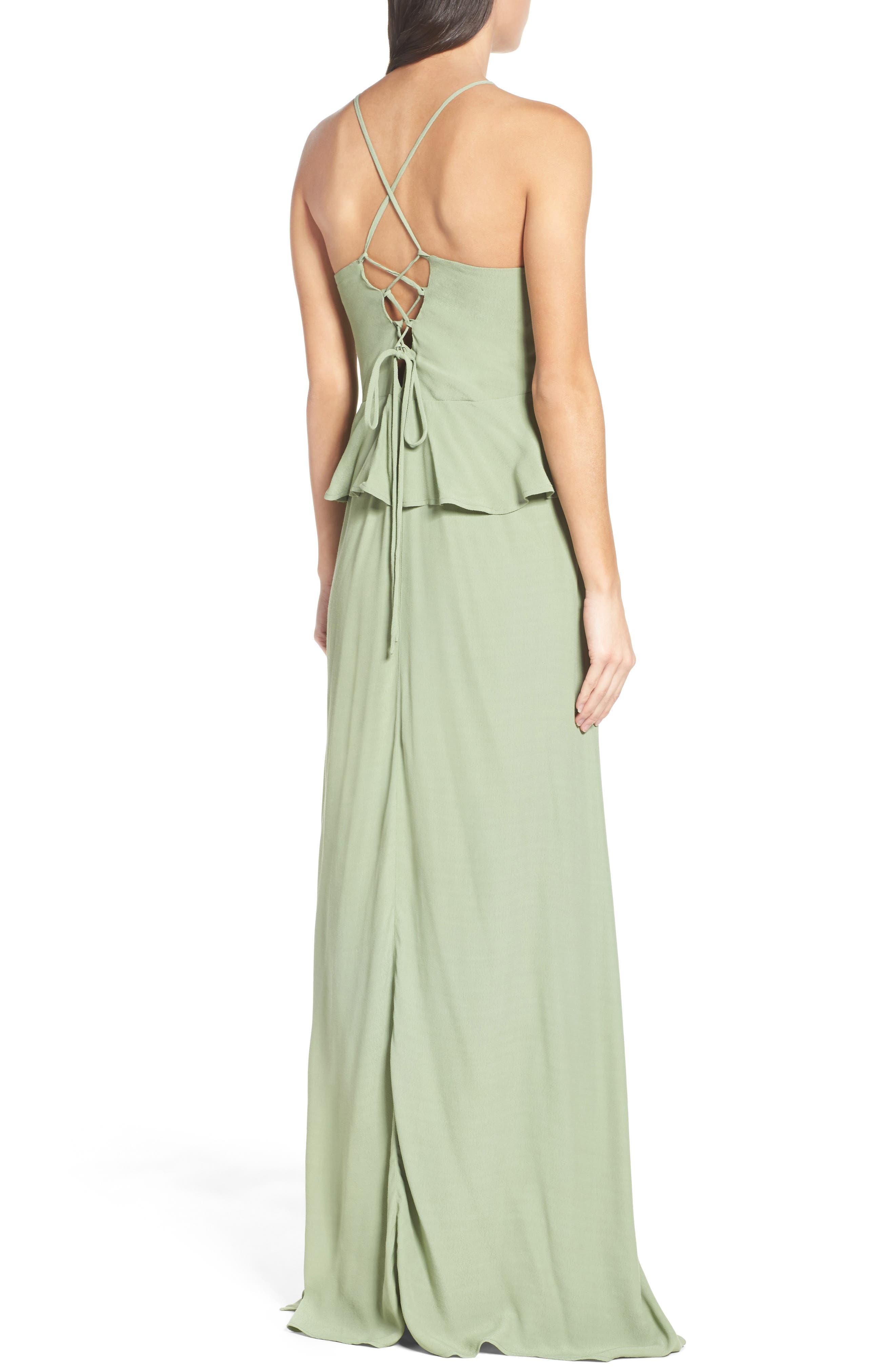 Roe + May Jolie Crepe Peplum Dress,                             Alternate thumbnail 3, color,