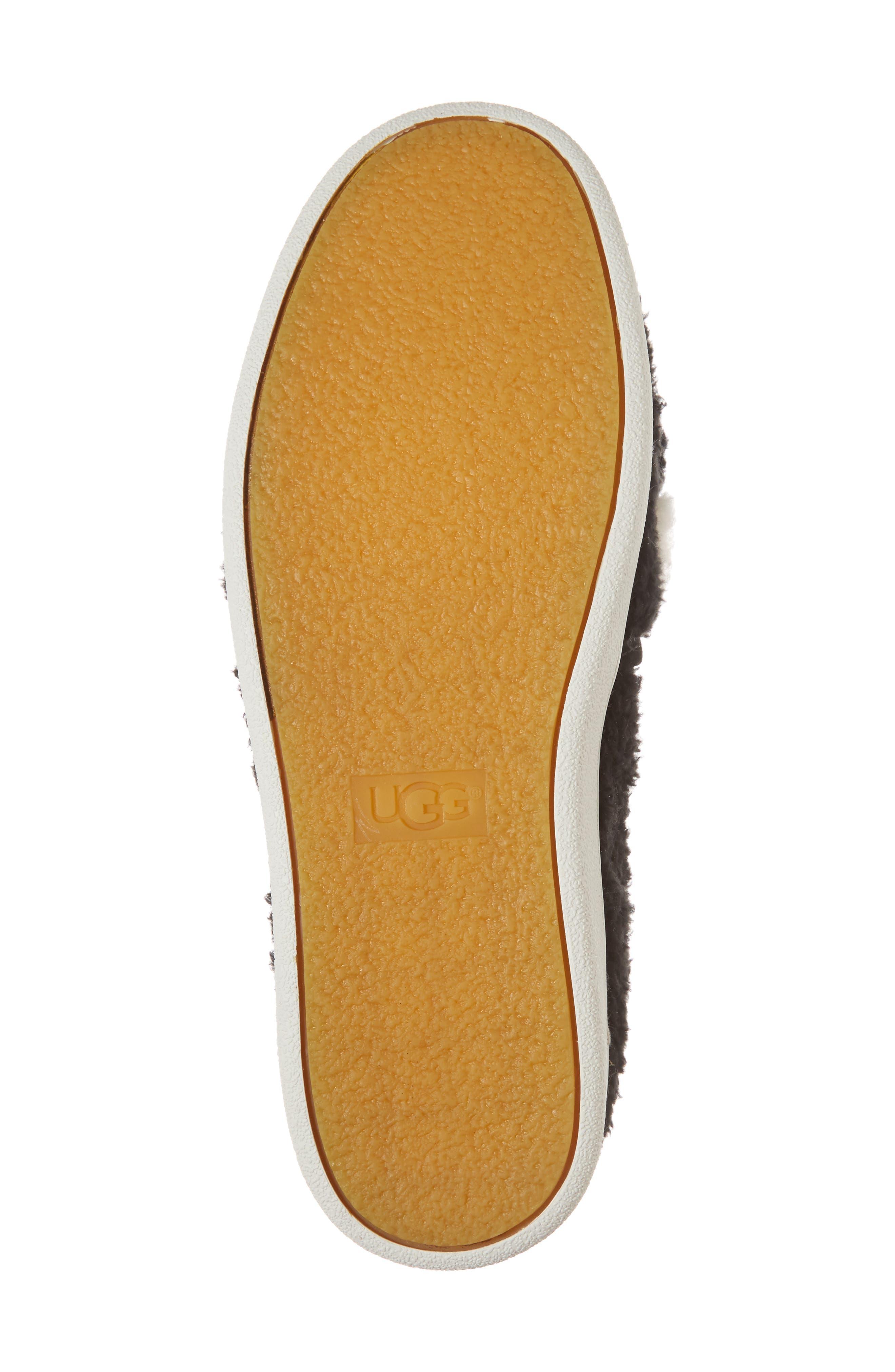 Ricci Plush Genuine Shearling Pompom Slip-On Sneaker,                             Alternate thumbnail 6, color,                             001