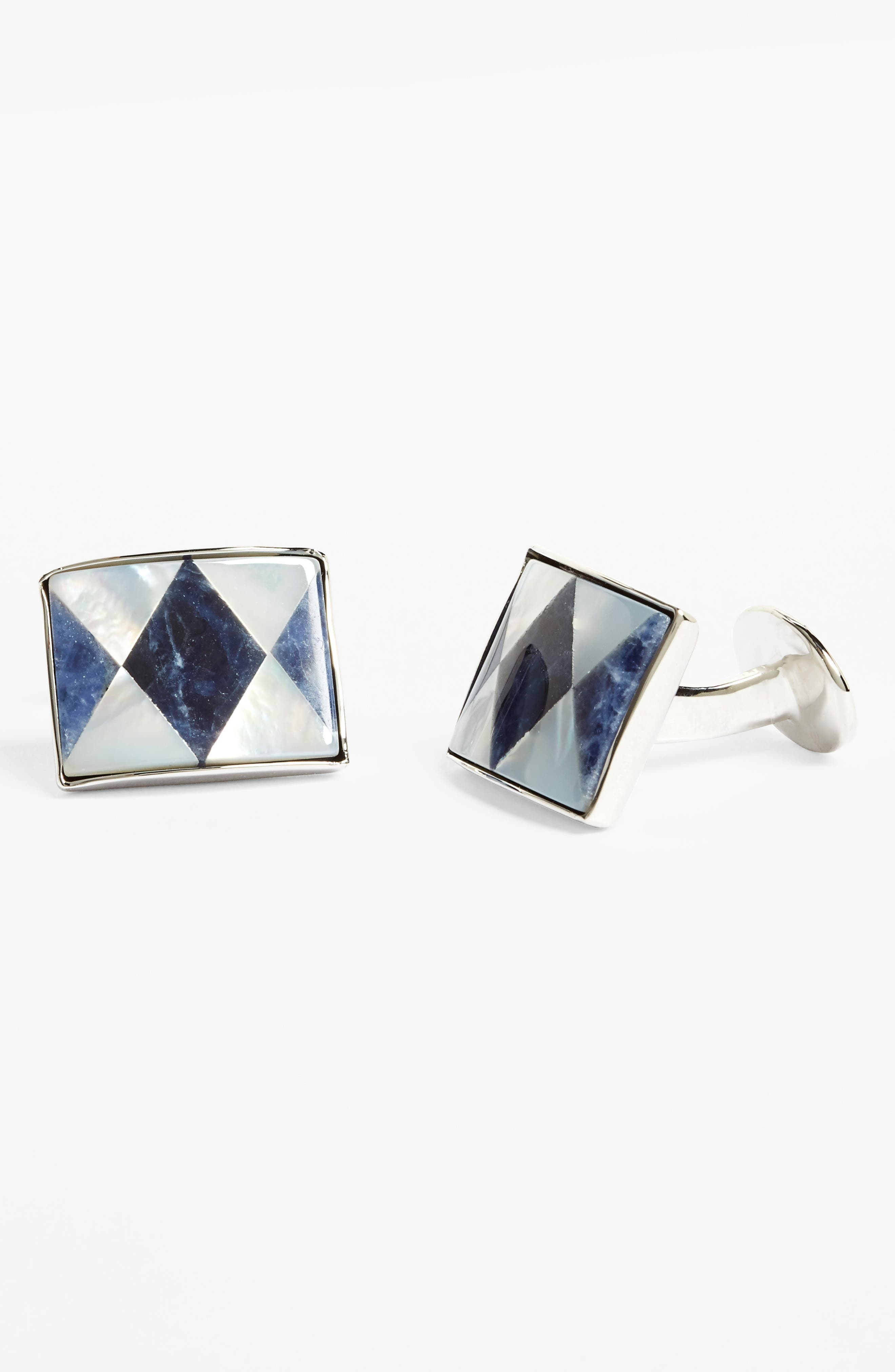 Sodalite & Mother of Pearl Cuff Links,                             Alternate thumbnail 2, color,                             SILVER/ MOTHER OF PEARL