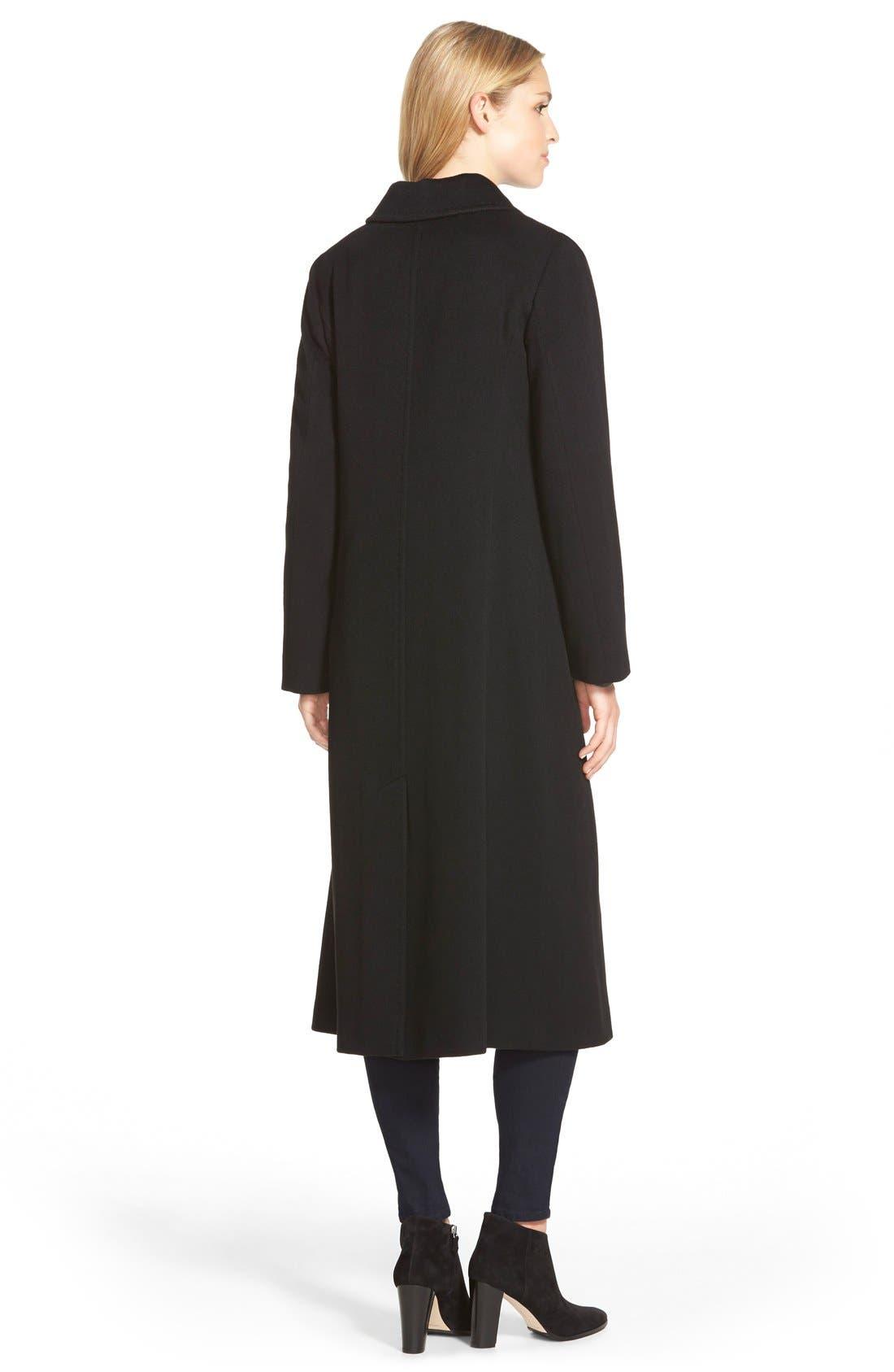 Point Collar Long Cashmere Coat,                             Alternate thumbnail 2, color,                             001