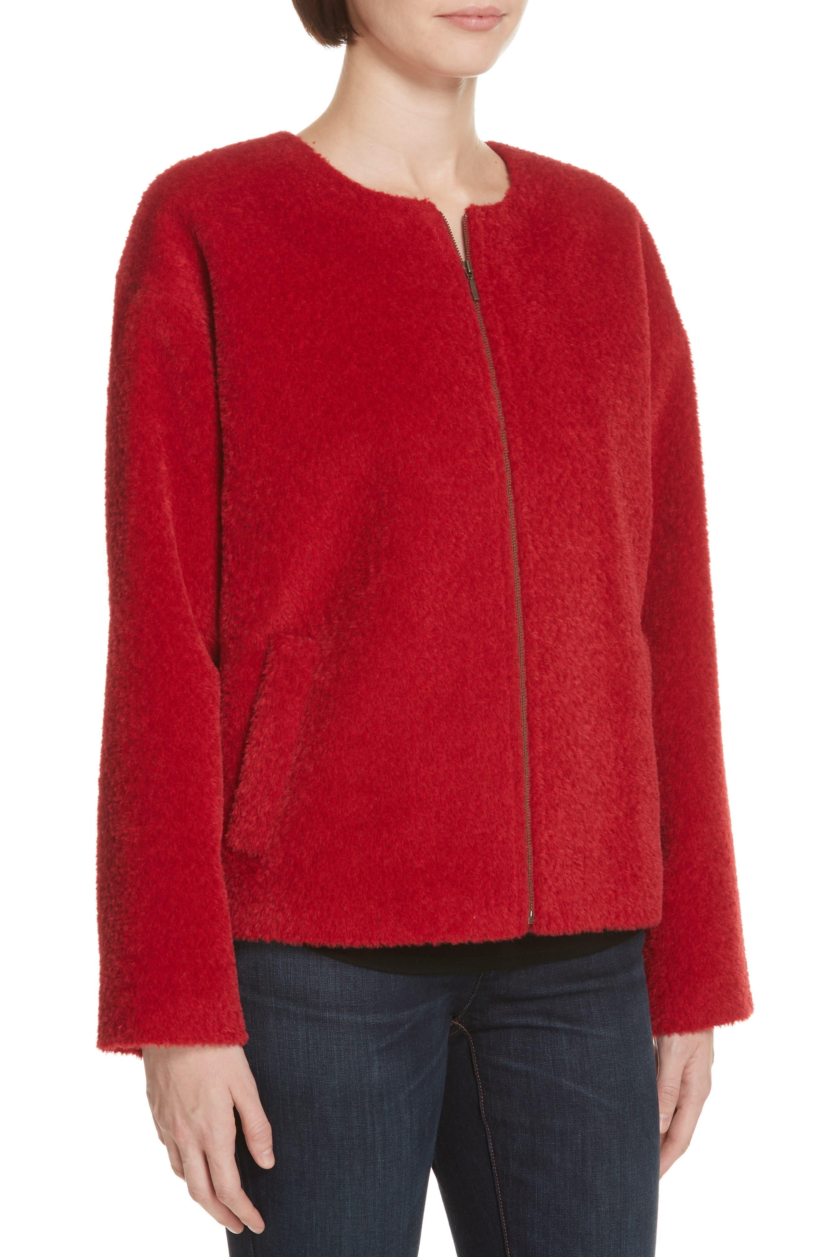 Wool & Alpaca Blend Jacket,                             Alternate thumbnail 4, color,                             LACQUER