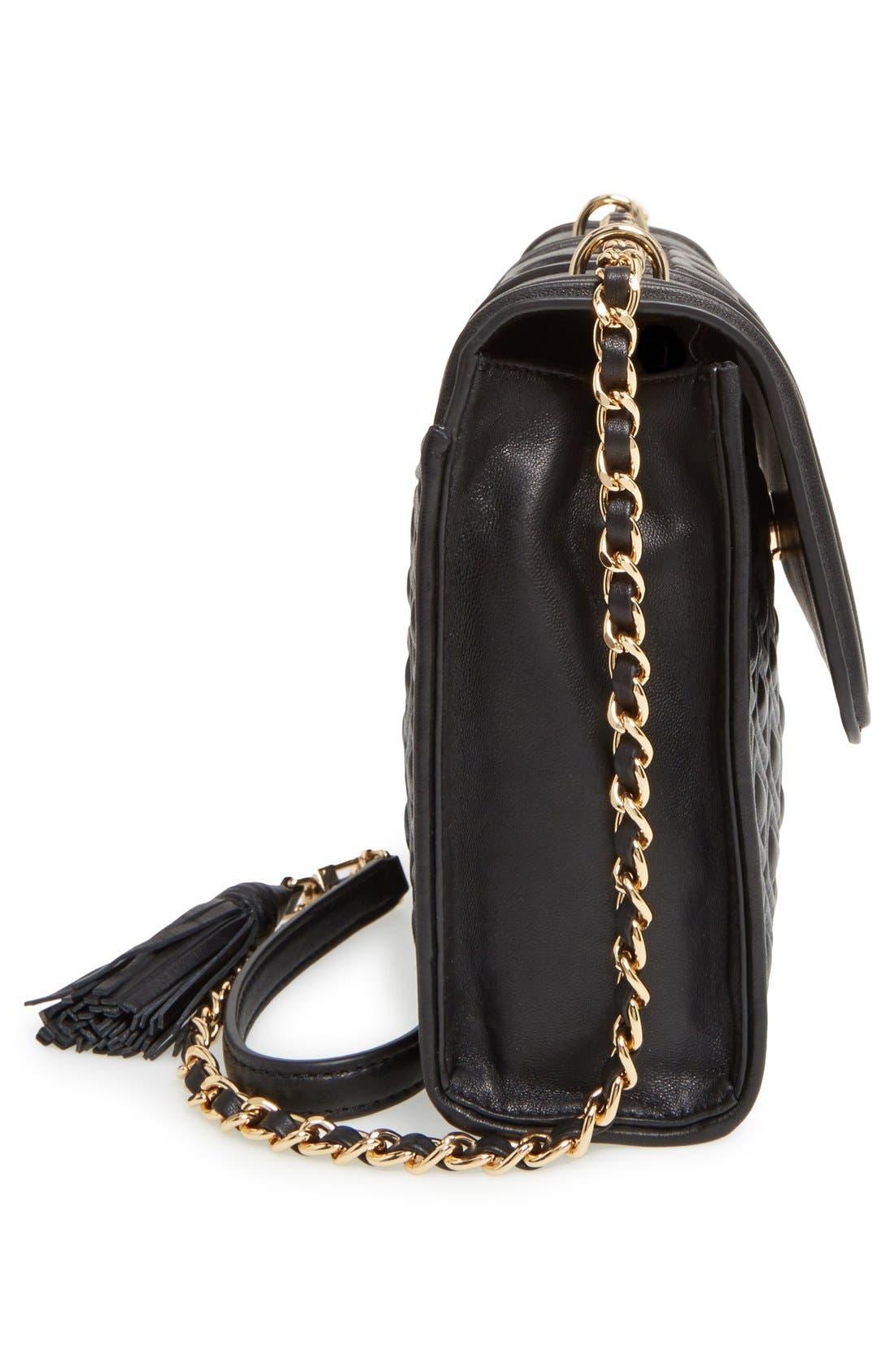 'Fleming' Convertible Shoulder Bag,                             Alternate thumbnail 5, color,                             BLACK