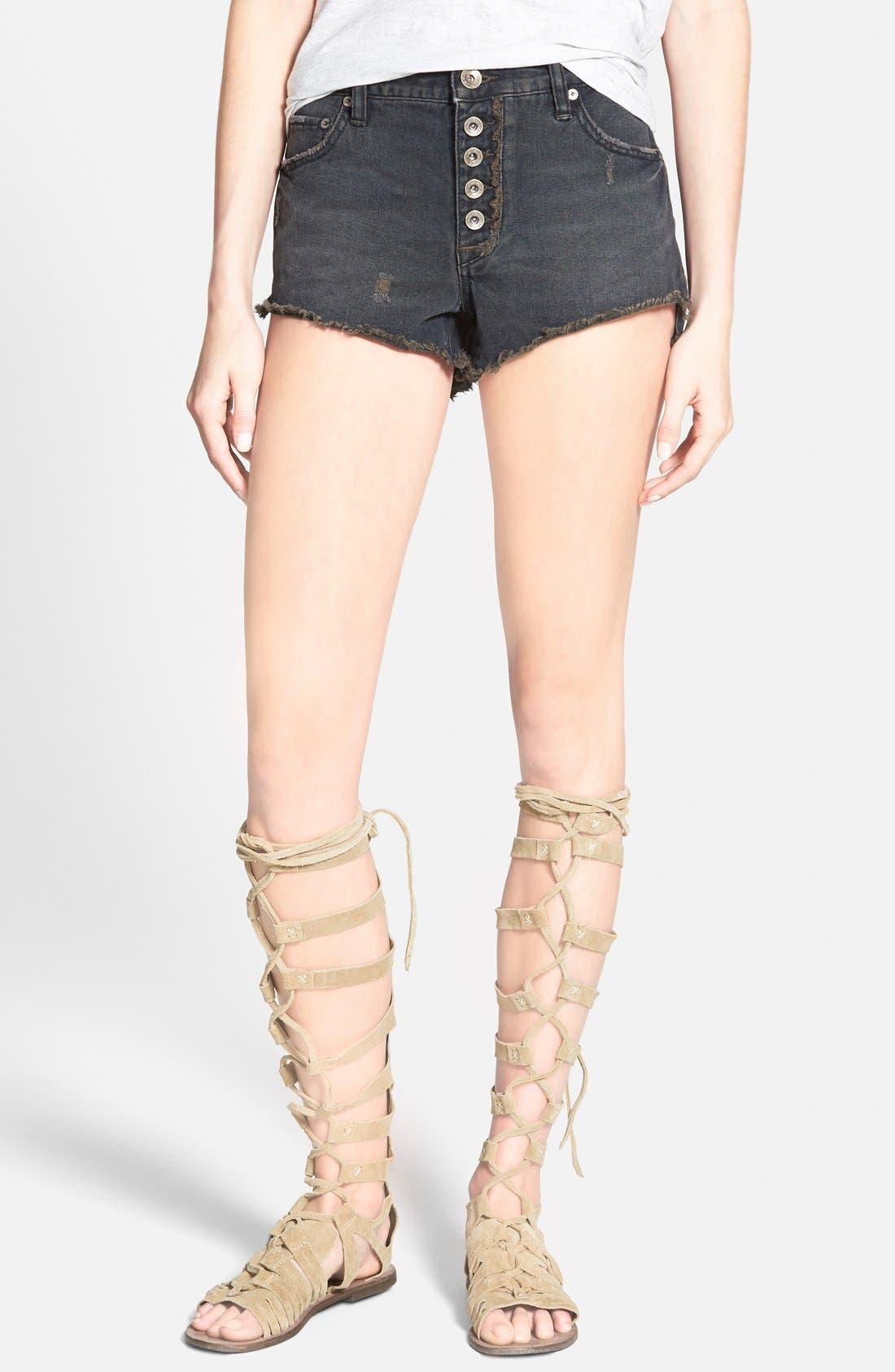 'Runaway' Cutoff Denim Shorts, Main, color, 001