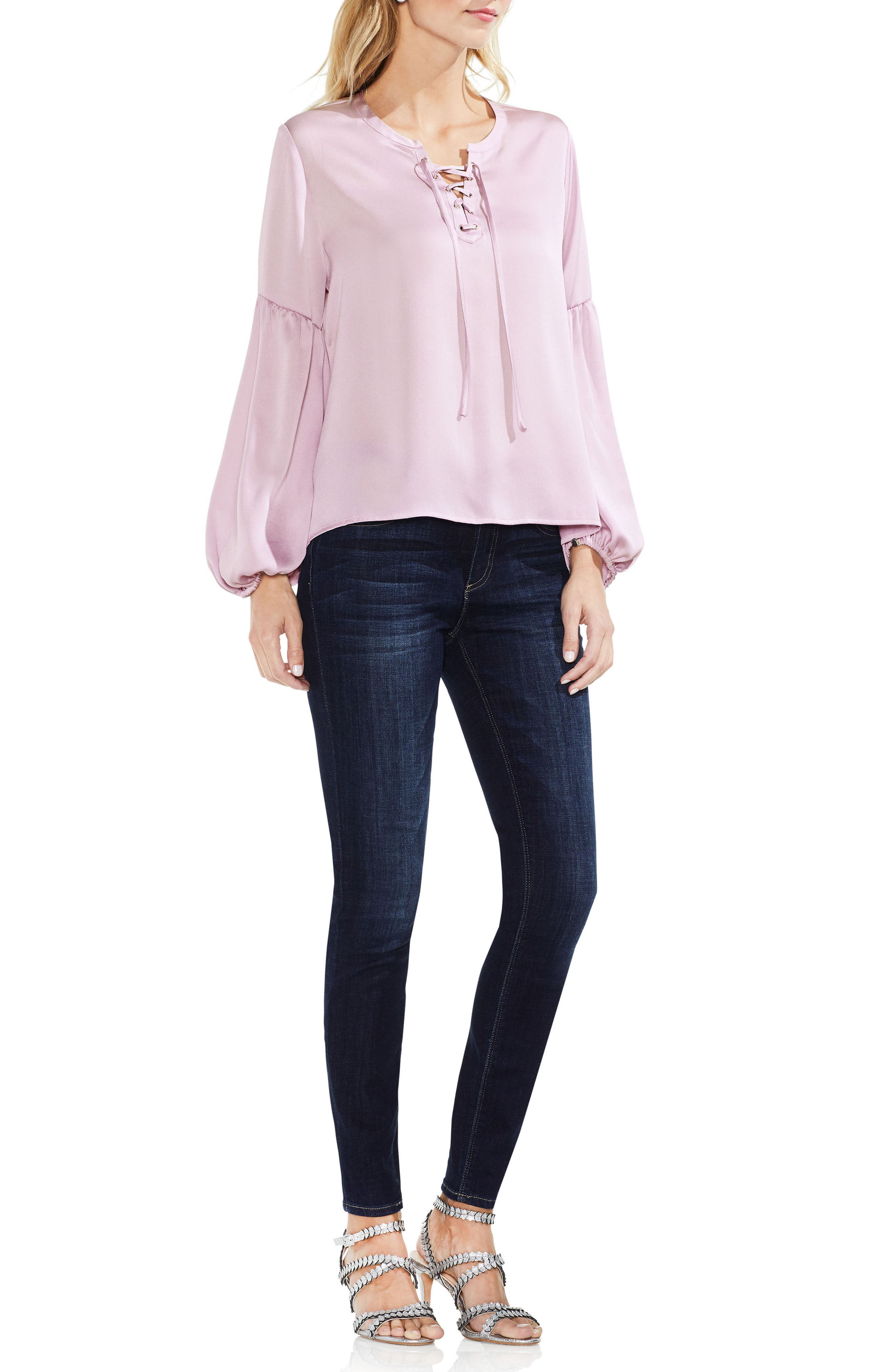 Lace-Up Hammered Satin Blouse,                             Alternate thumbnail 24, color,
