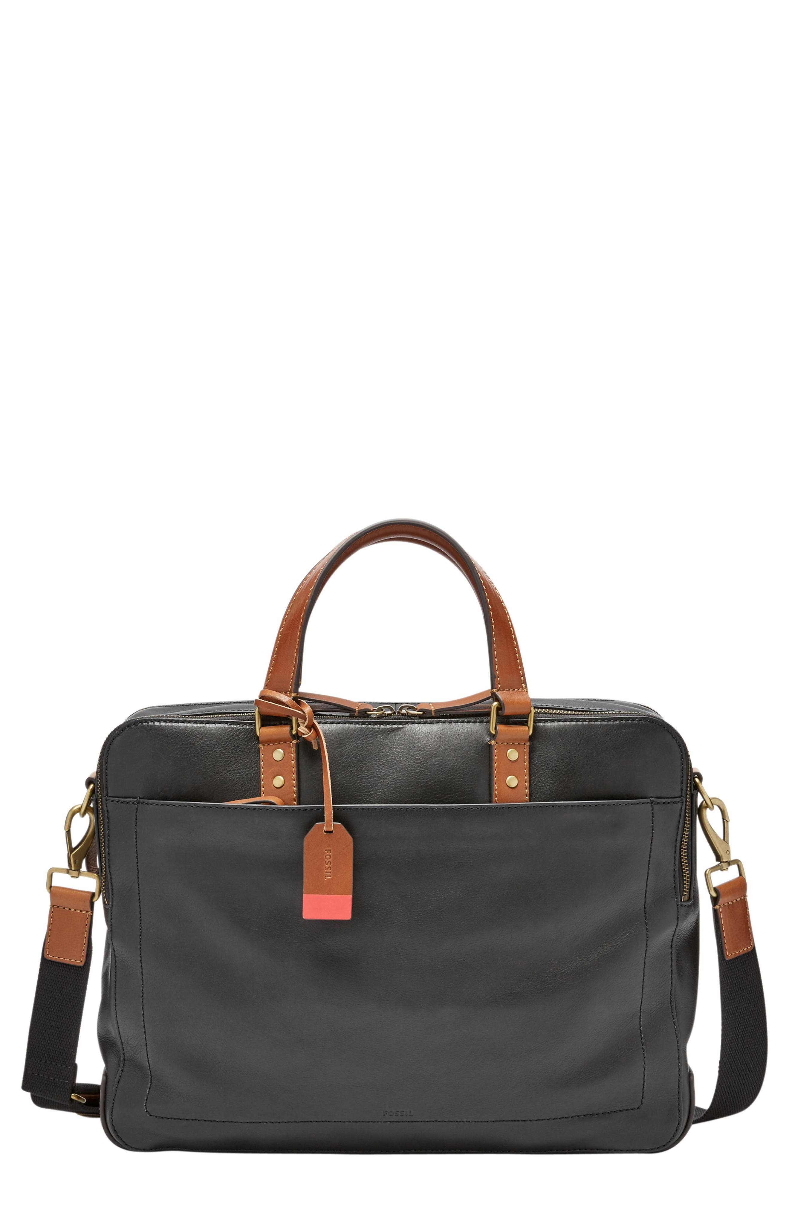 Defender Leather Briefcase,                         Main,                         color, BLACK