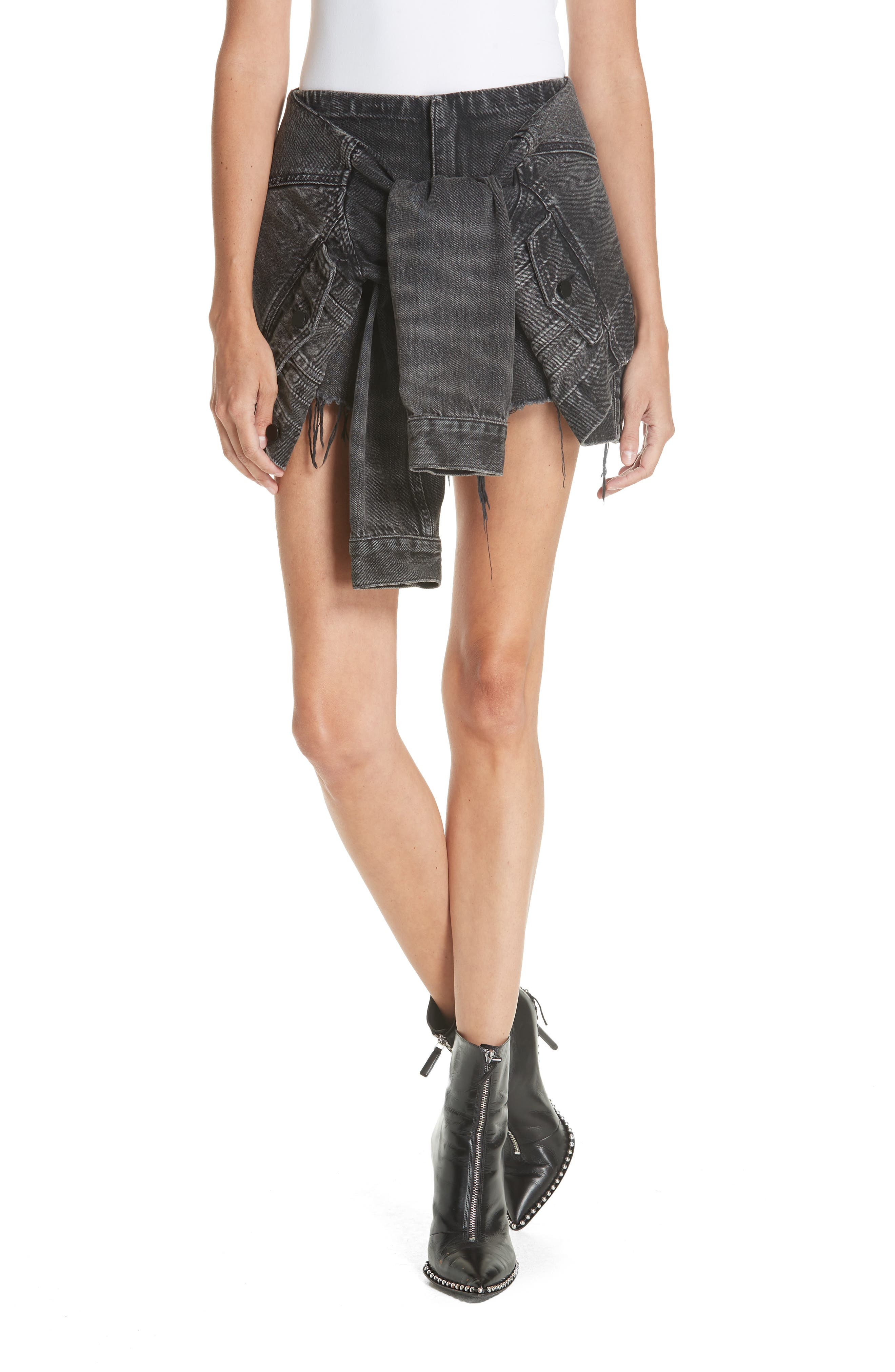 ALEXANDERWANG.T Denim X Alexander Wang Sleeve Tie Denim Skort in Grey Aged