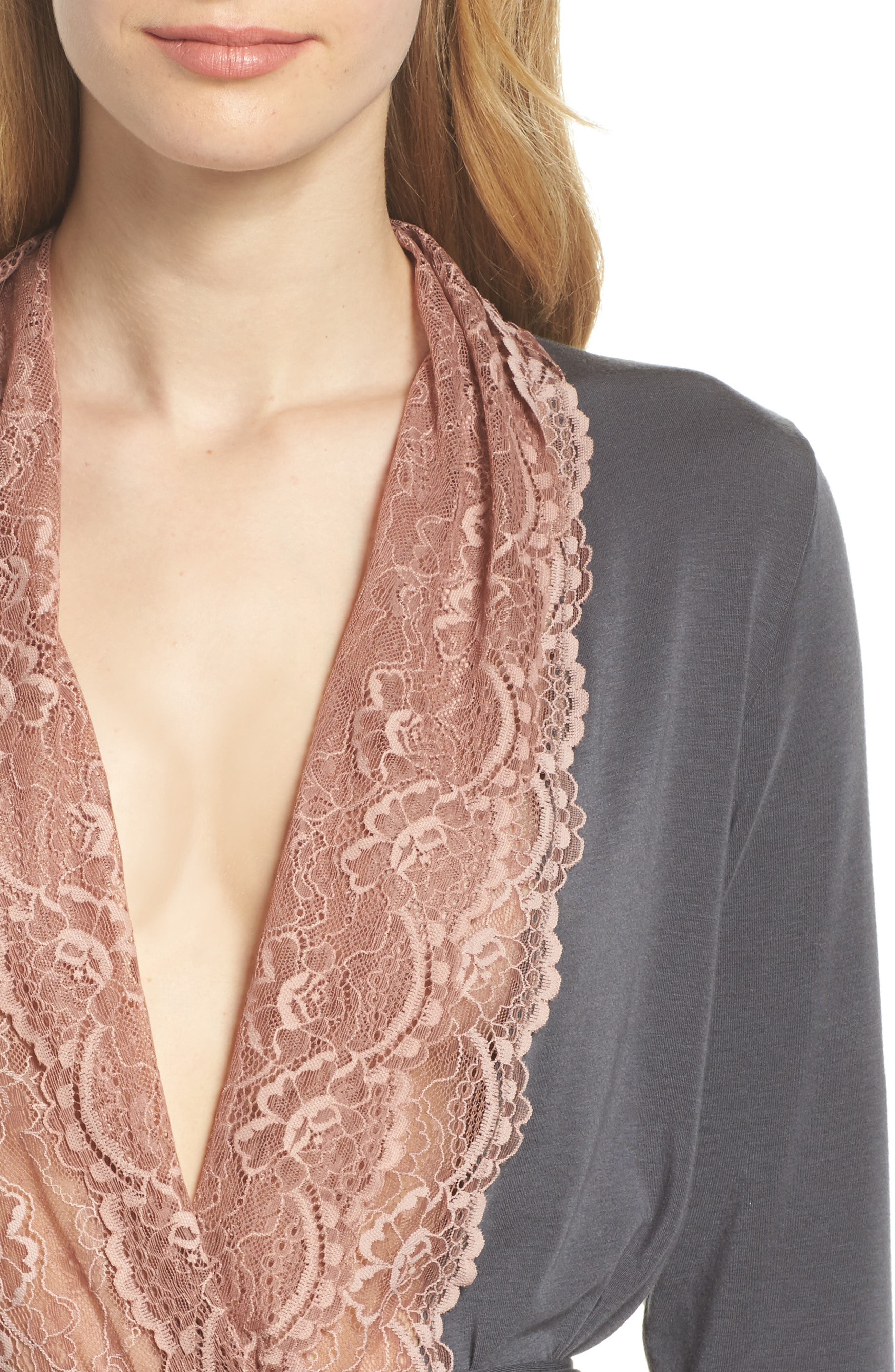 Lace Trim Robe,                             Alternate thumbnail 4, color,                             SLATE WITH JAVA LACE