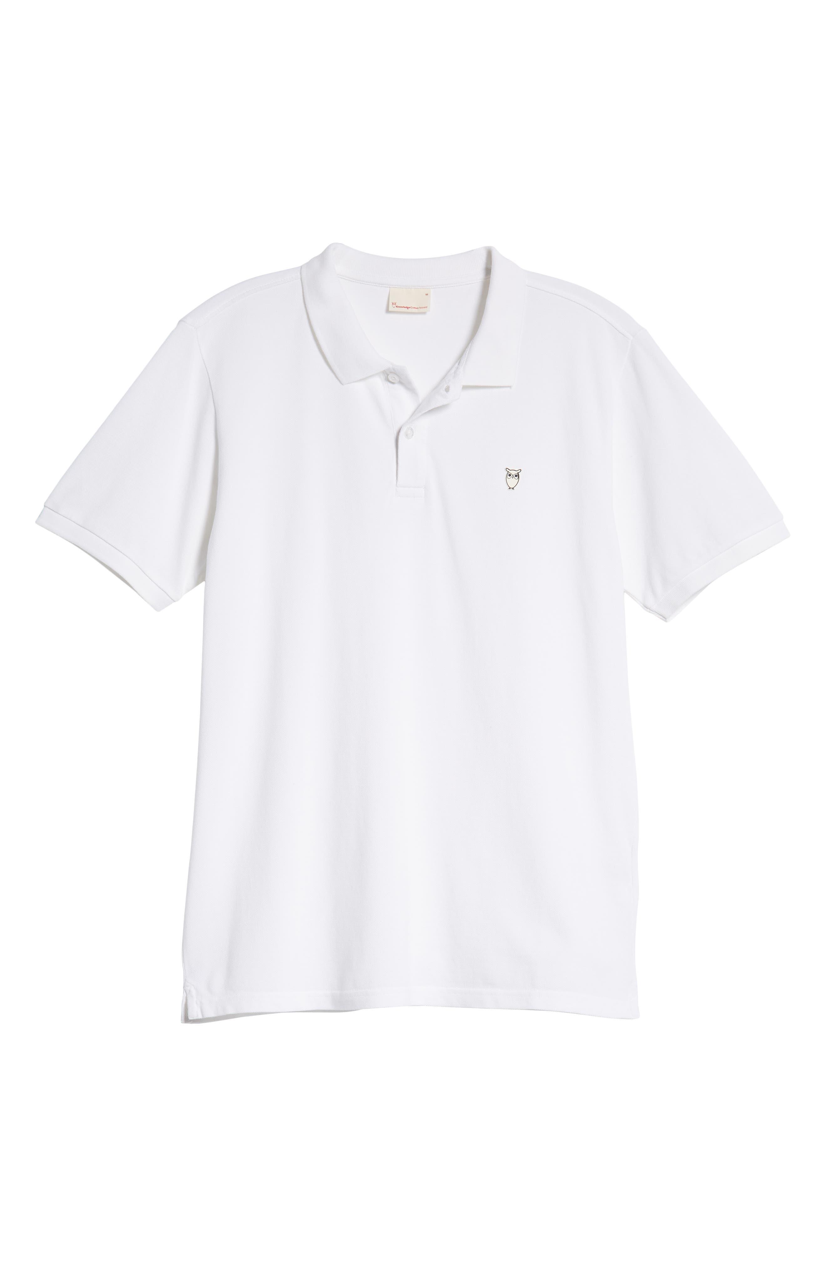 Knowledge Cotton Apparel Trim Fit Piqué Polo,                             Alternate thumbnail 6, color,                             WHITE