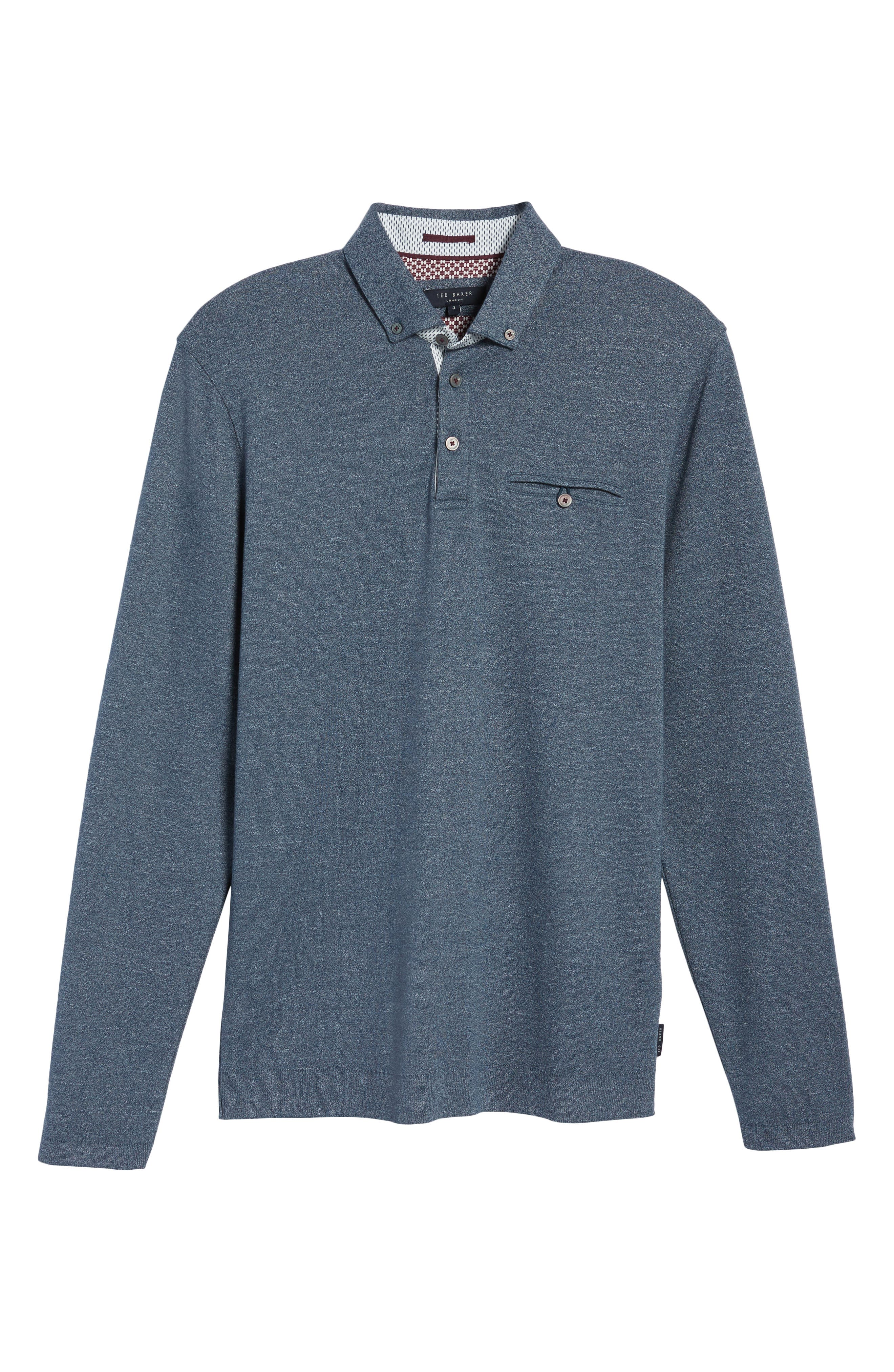 Yamway Modern Slim Fit Long Sleeve Polo,                             Alternate thumbnail 17, color,