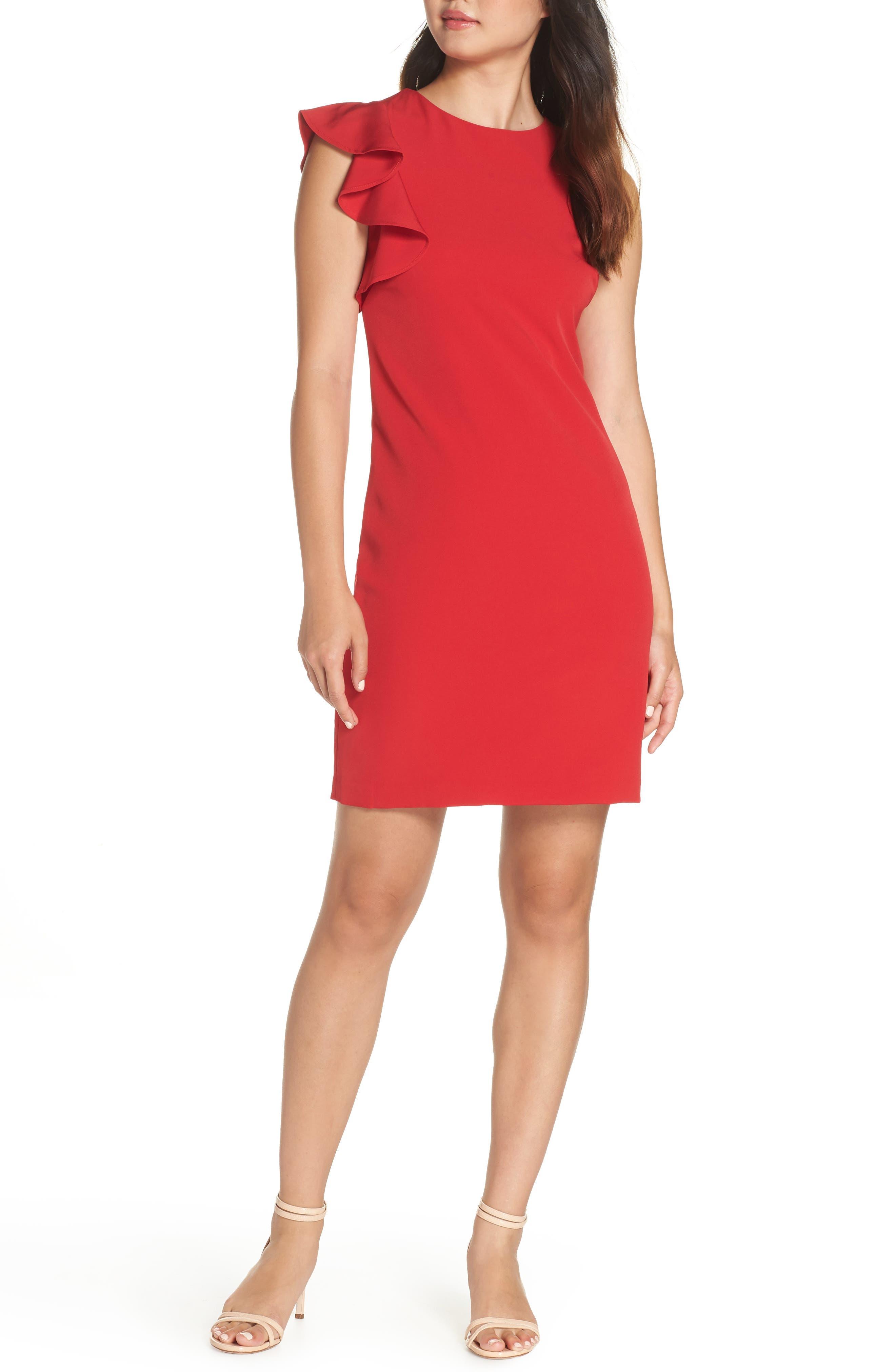 Julia Jordan Sleeveless One-Ruffle Dress
