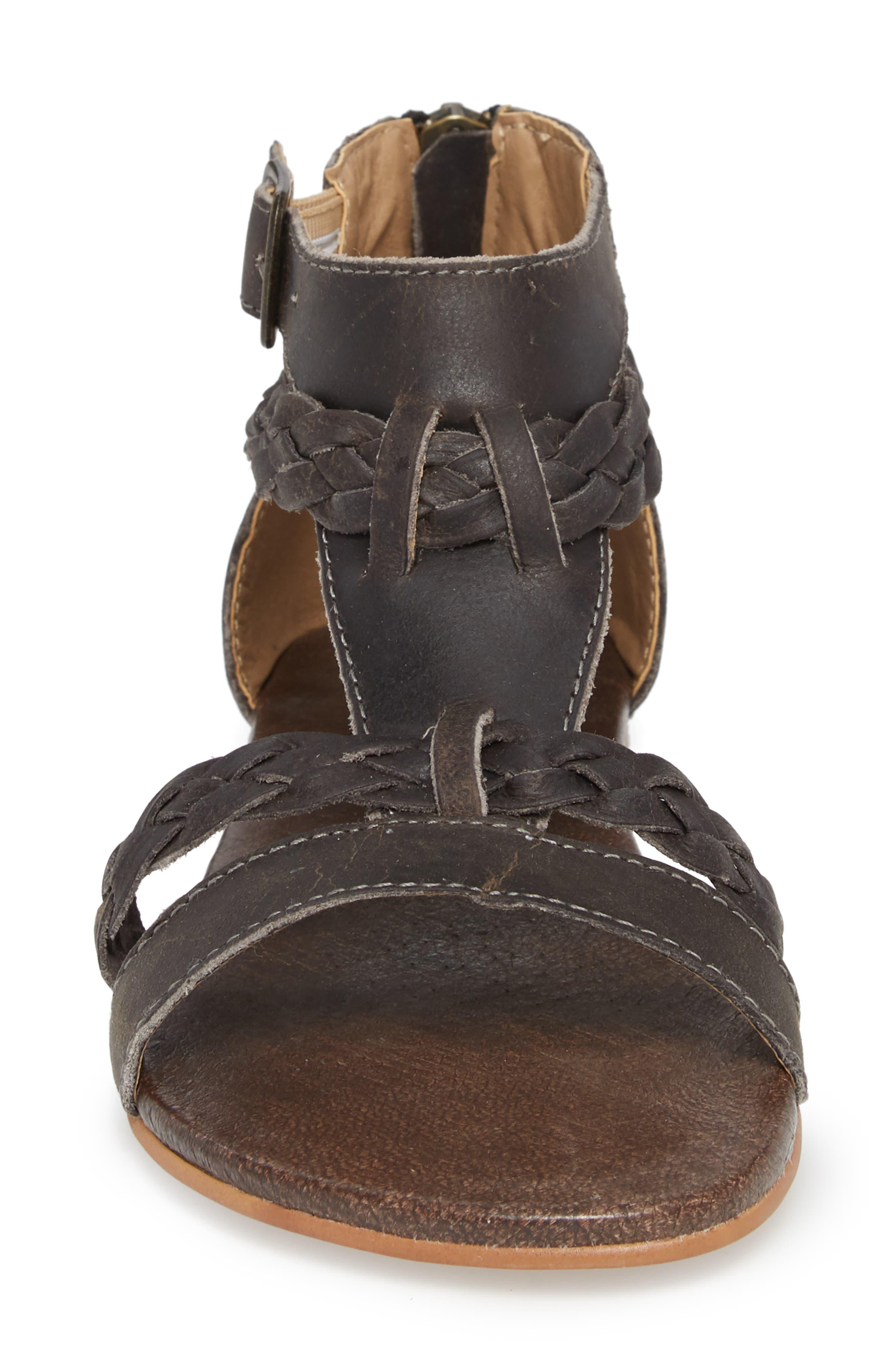 Posey Braided V-Strap Sandal,                             Alternate thumbnail 4, color,                             SYDNEY BLACK