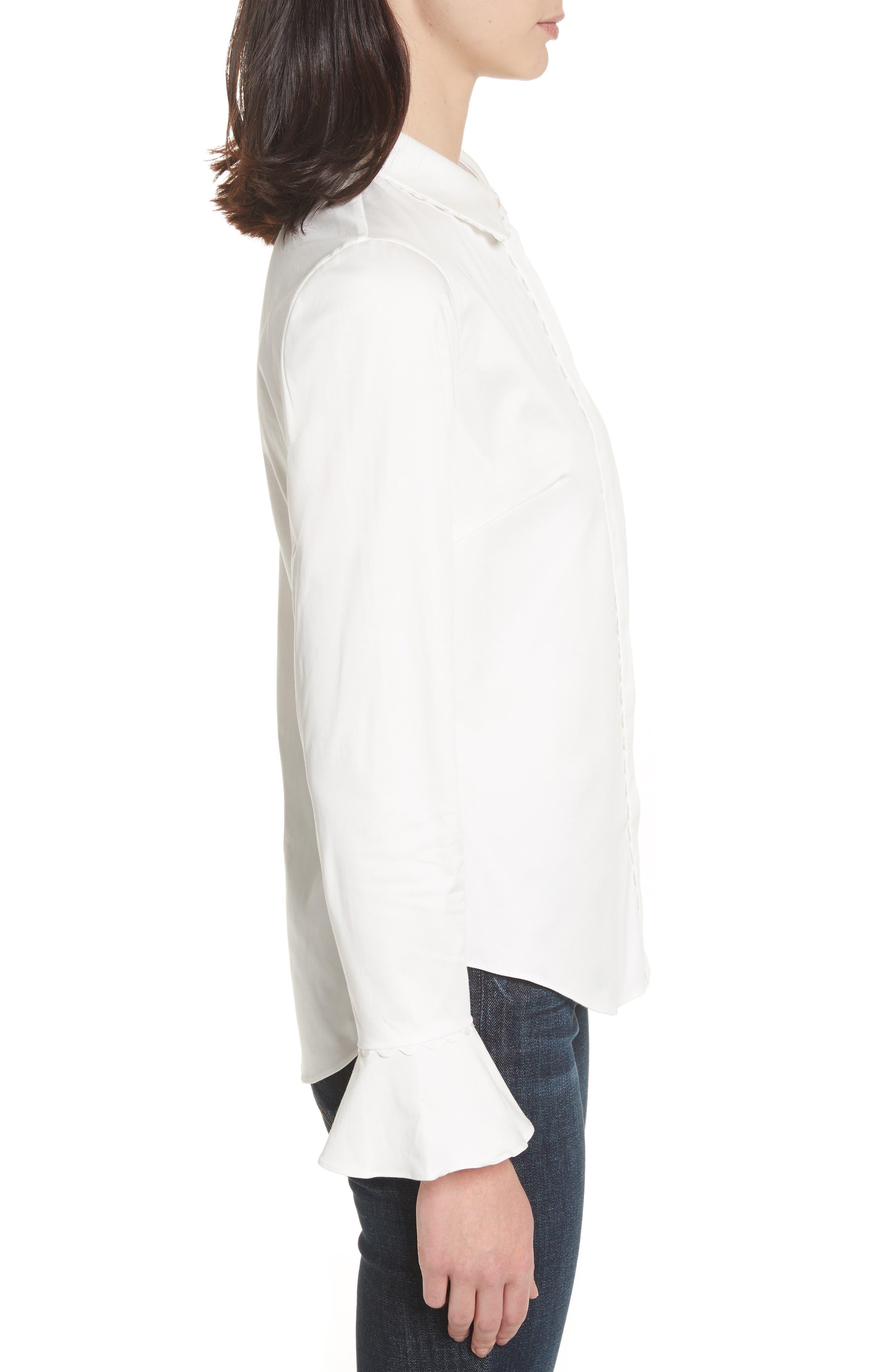 Fluted Scallop Trim Shirt,                             Alternate thumbnail 3, color,                             110
