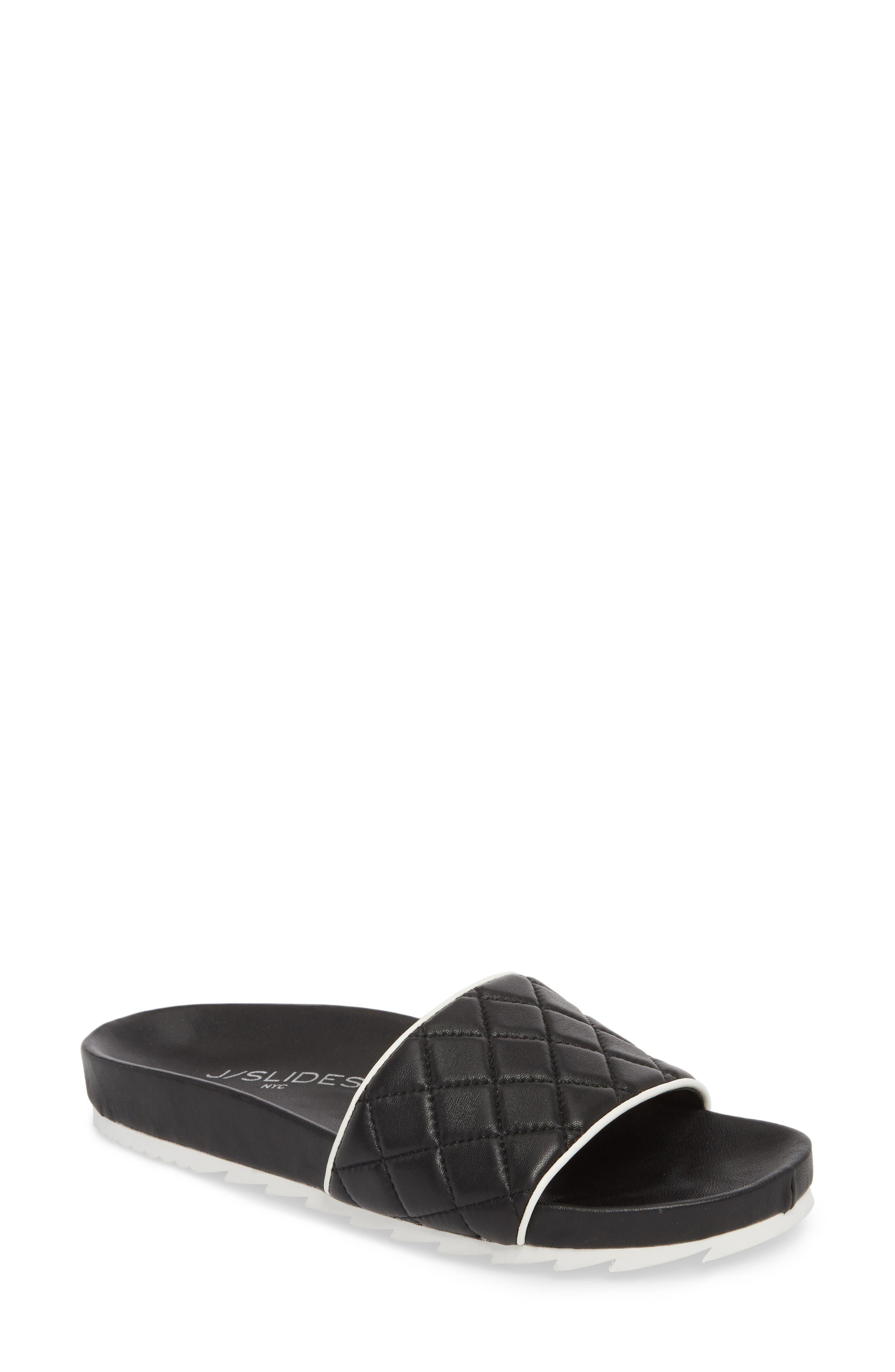 Edge Slide Sandal,                             Main thumbnail 1, color,                             BLACK LEATHER