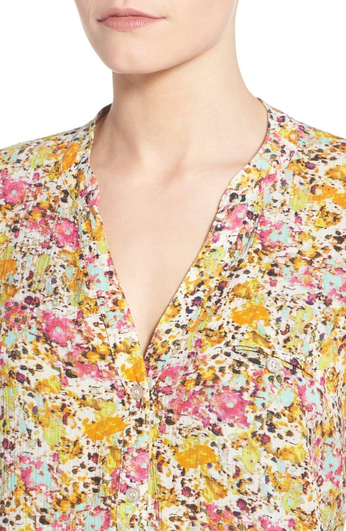 'Jasmine' Floral Print Roll Sleeve Blouse,                             Alternate thumbnail 5, color,                             301