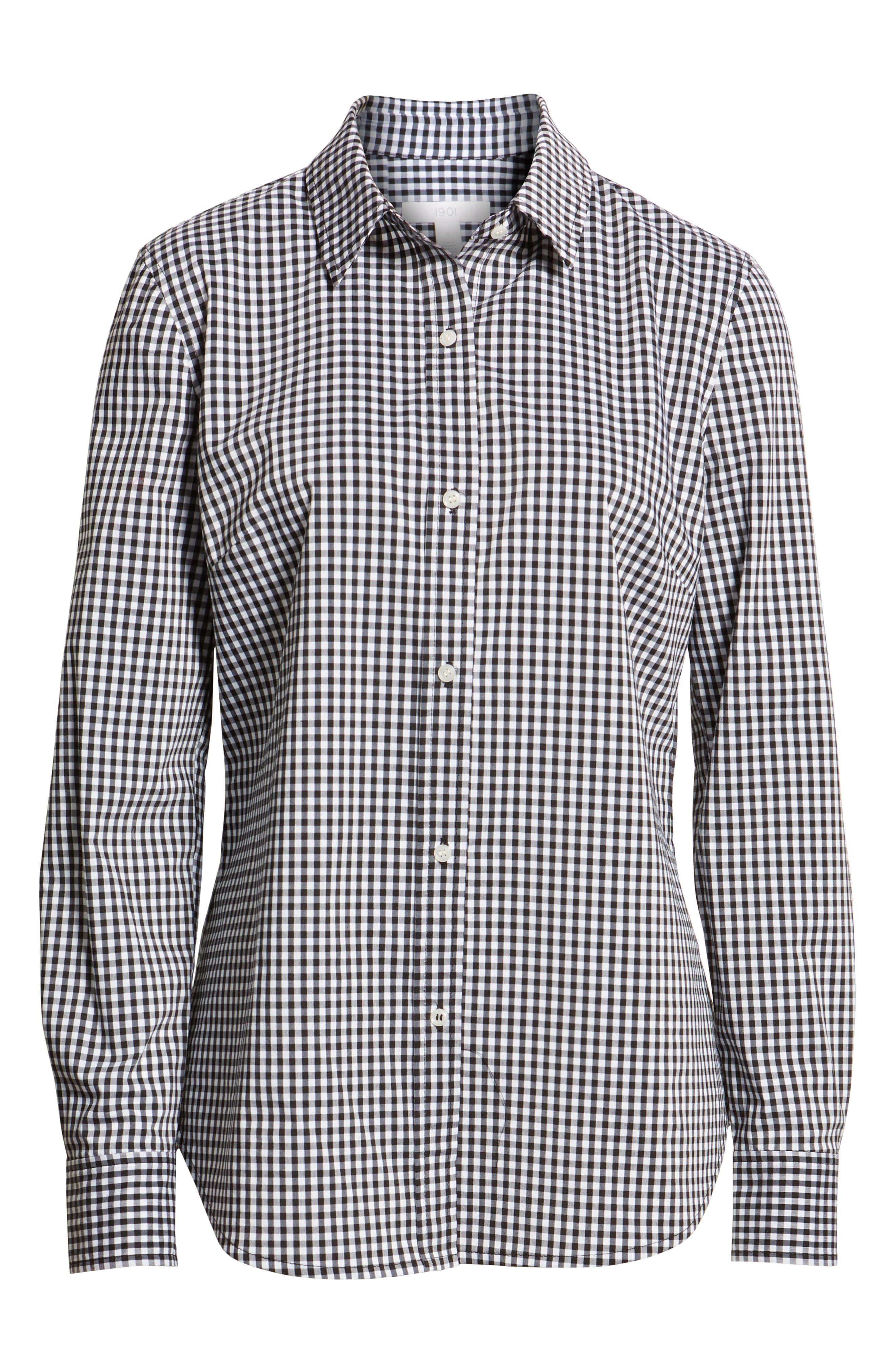 Stretch Cotton Blend Shirt,                             Alternate thumbnail 6, color,                             BLACK GINGHAM