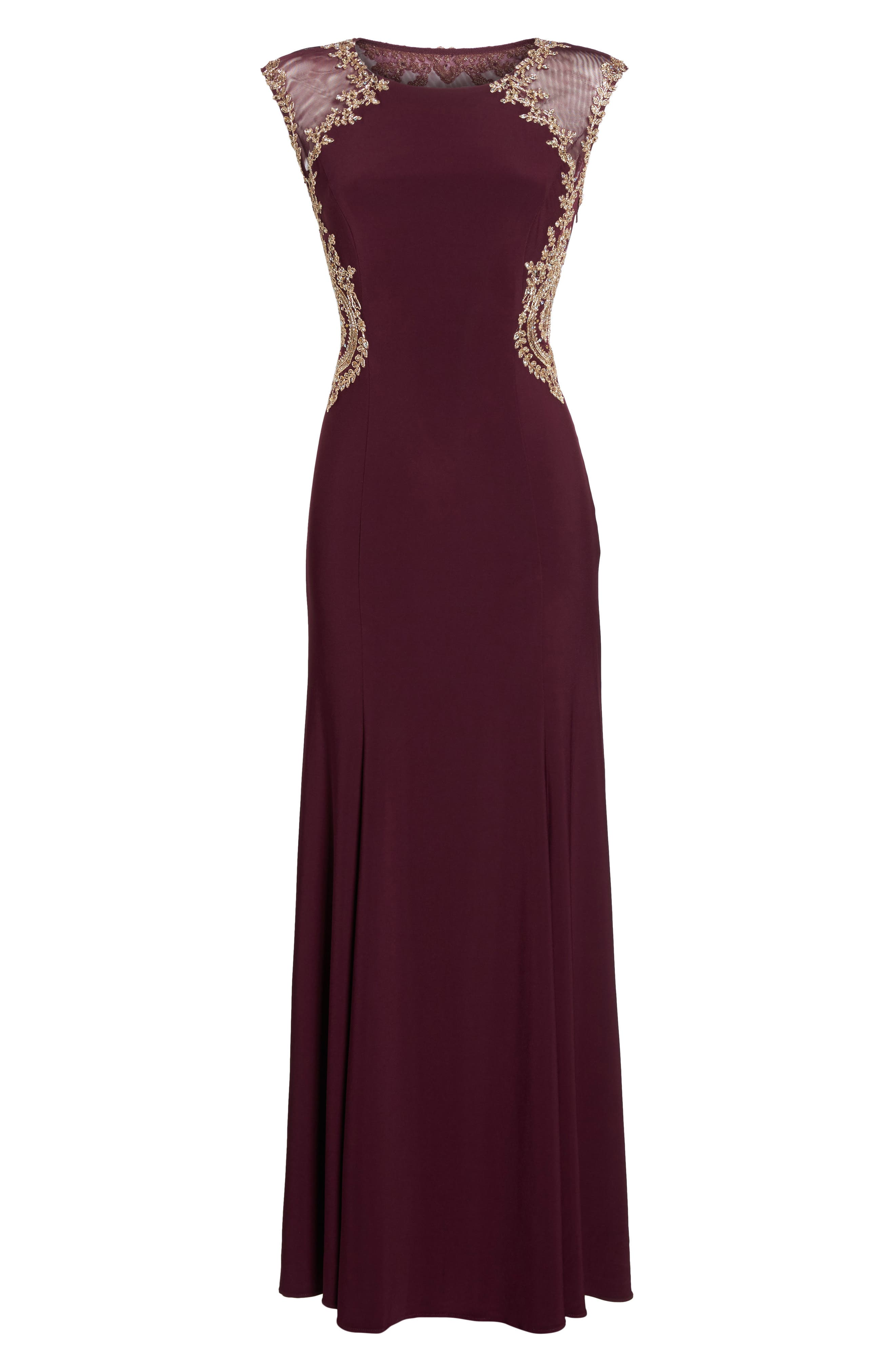 Embellished Jersey Gown,                             Alternate thumbnail 6, color,                             930