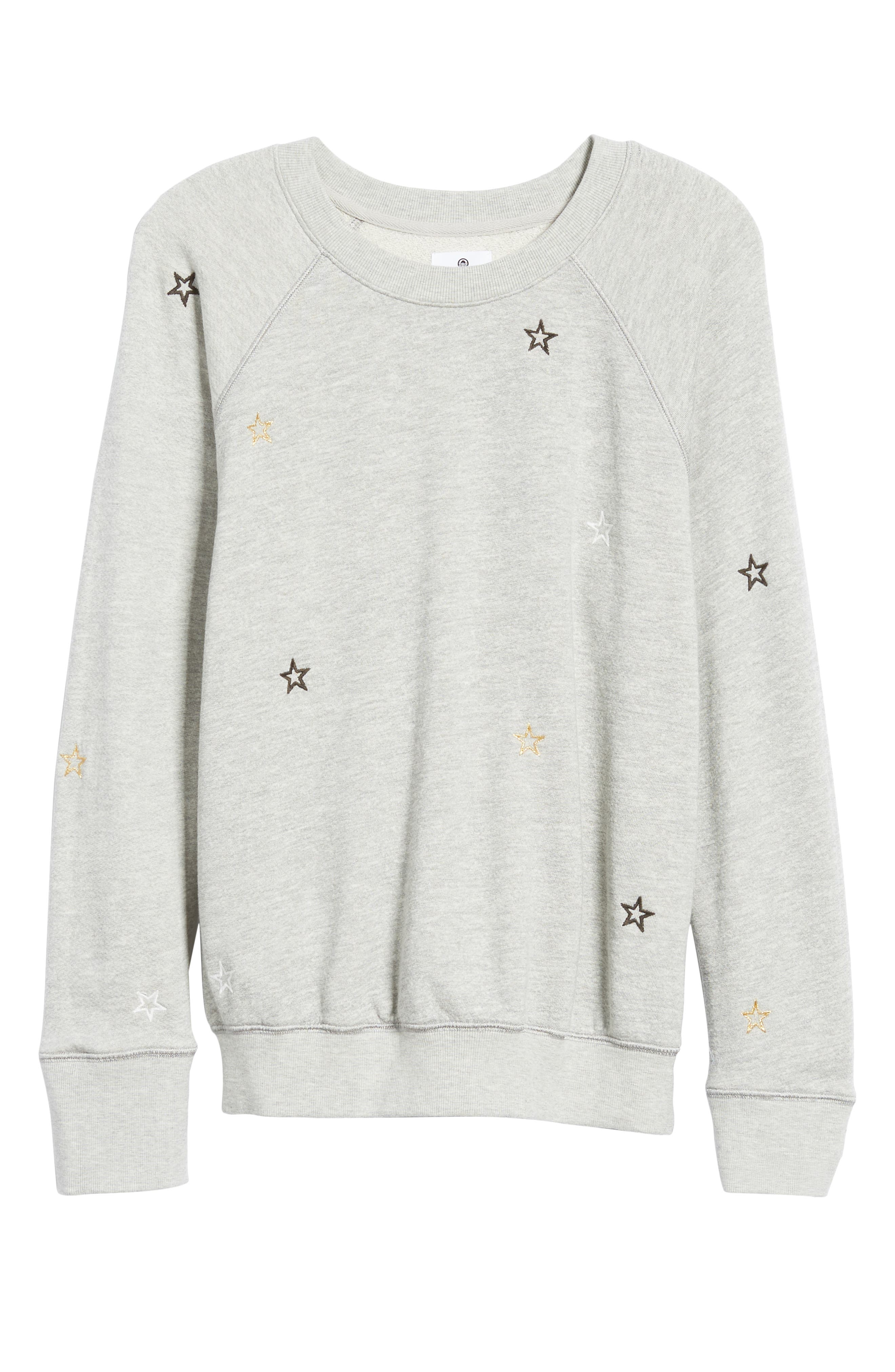 Star Embroidered Sweatshirt,                             Alternate thumbnail 6, color,                             HEATHER GREY