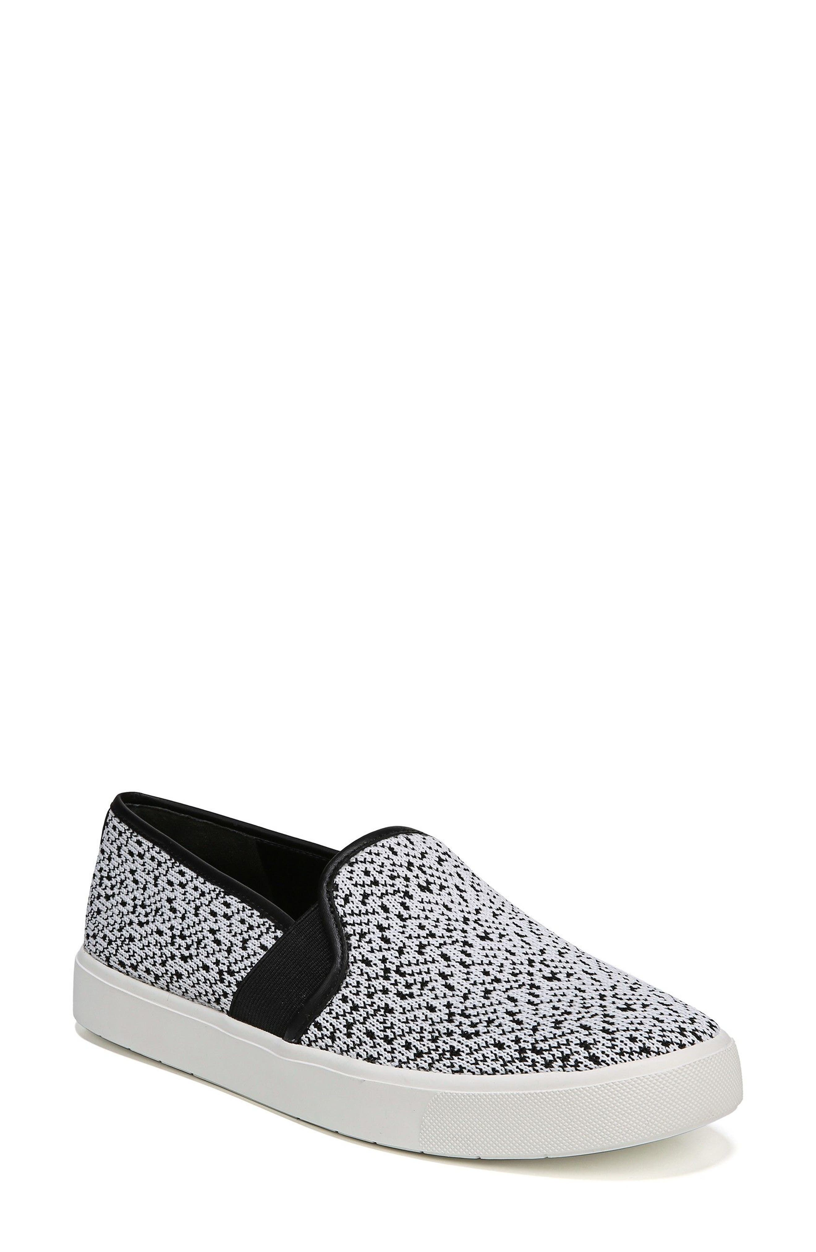 'Blair 12' Leather Slip-On Sneaker,                             Main thumbnail 1, color,                             WHITE/ BLACK YETI KNIT