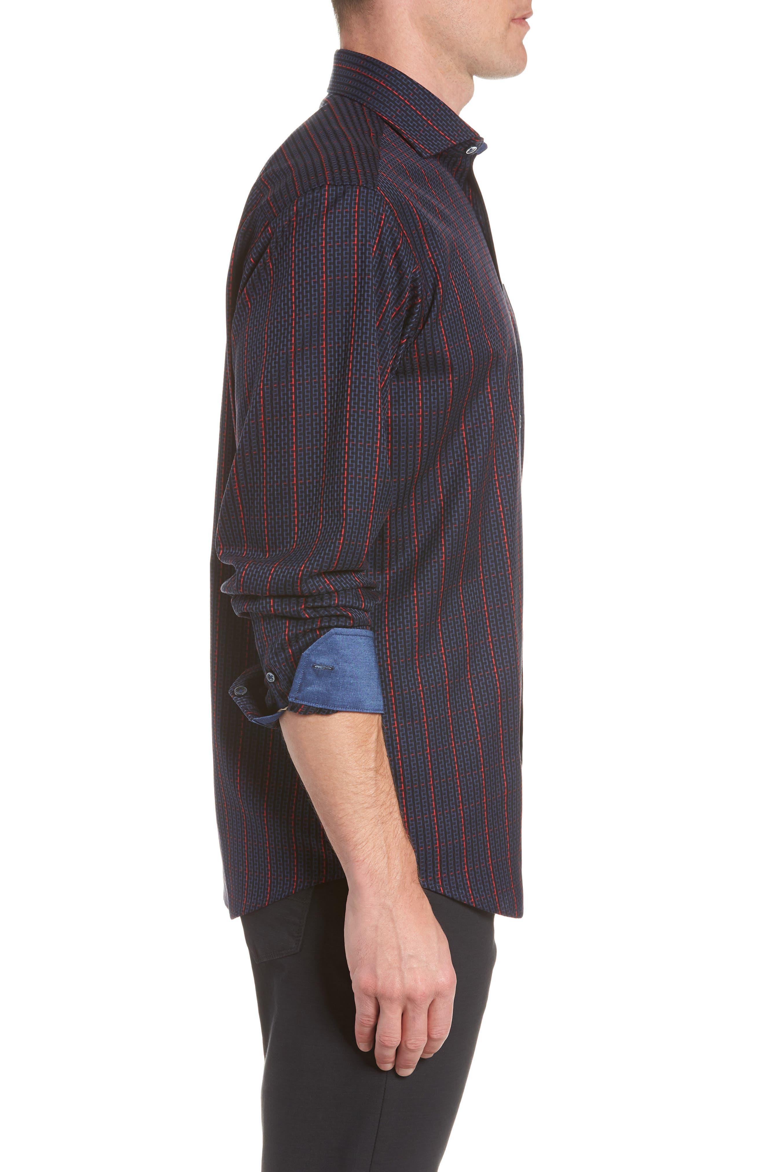 Classic Fit Woven Sport Shirt,                             Alternate thumbnail 4, color,                             NIGHT BLUE
