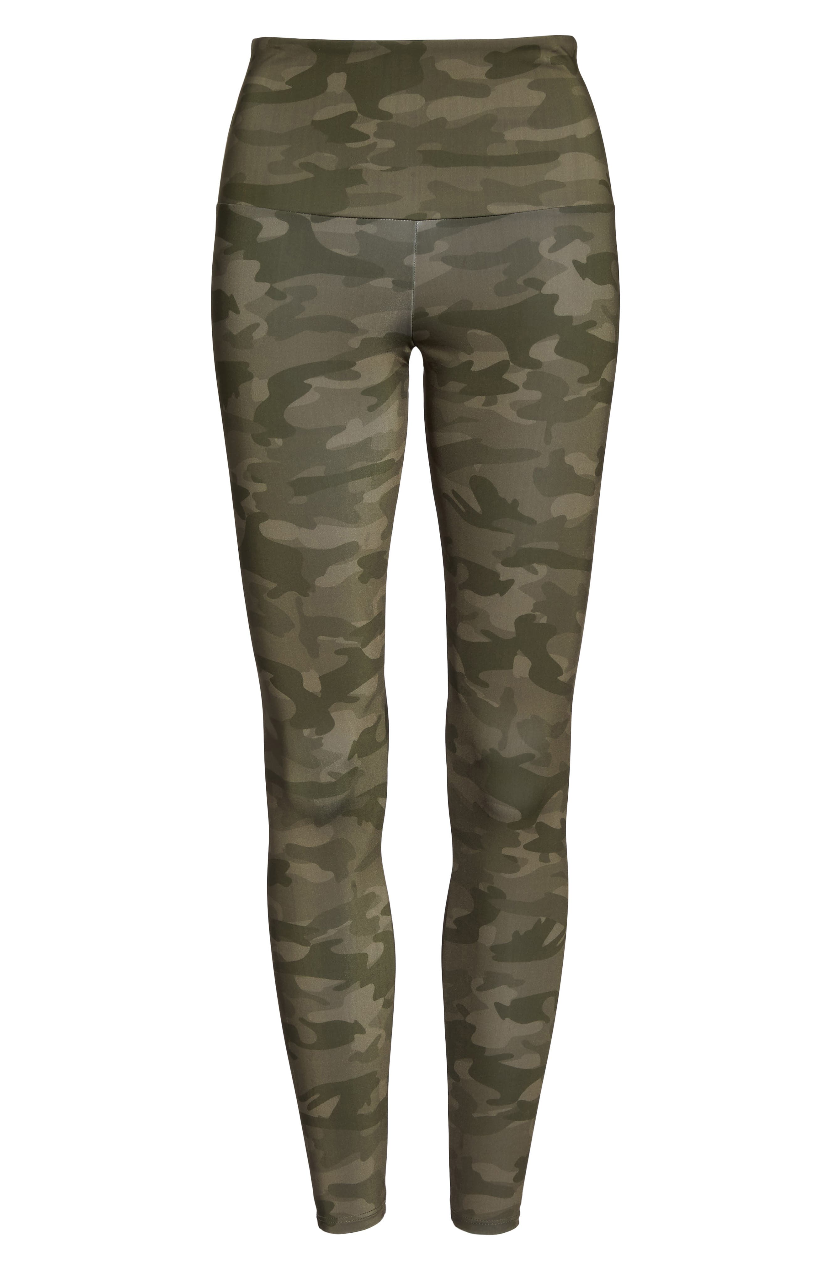 High Waist Print Leggings,                             Alternate thumbnail 7, color,                             MOSS CAMO