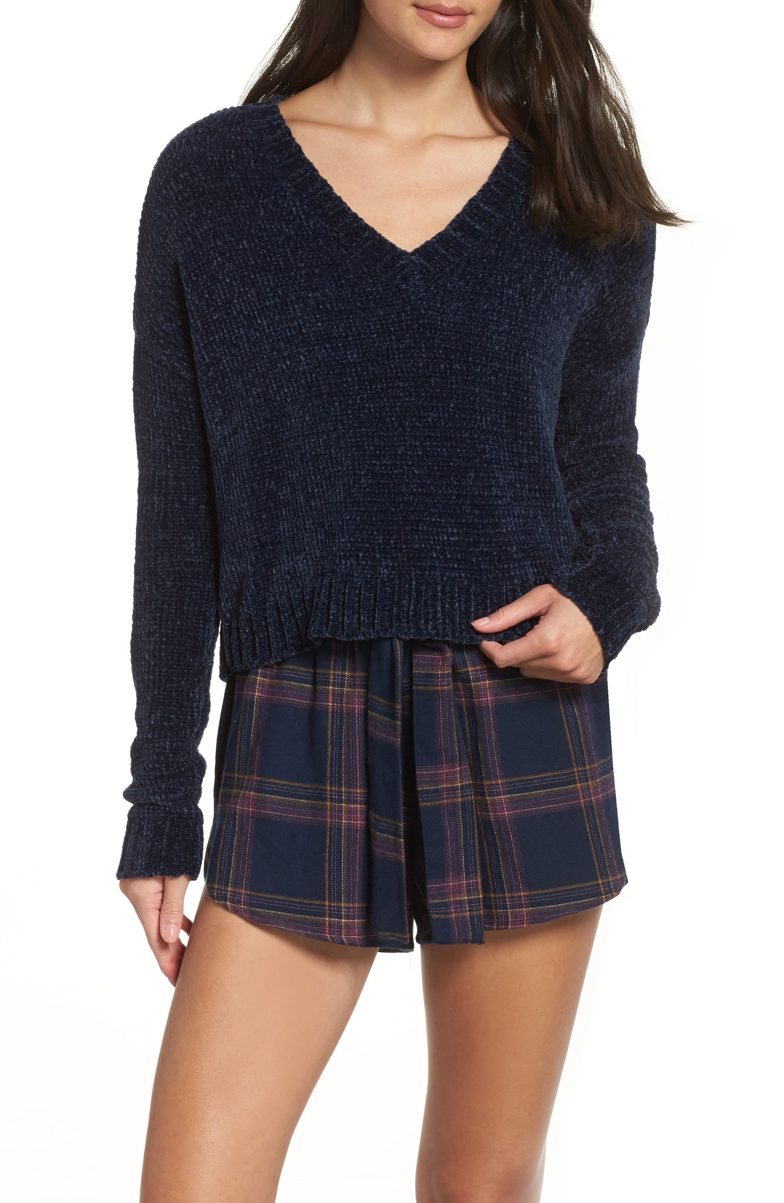 Crop Chenille Sweater,                             Alternate thumbnail 7, color,                             410