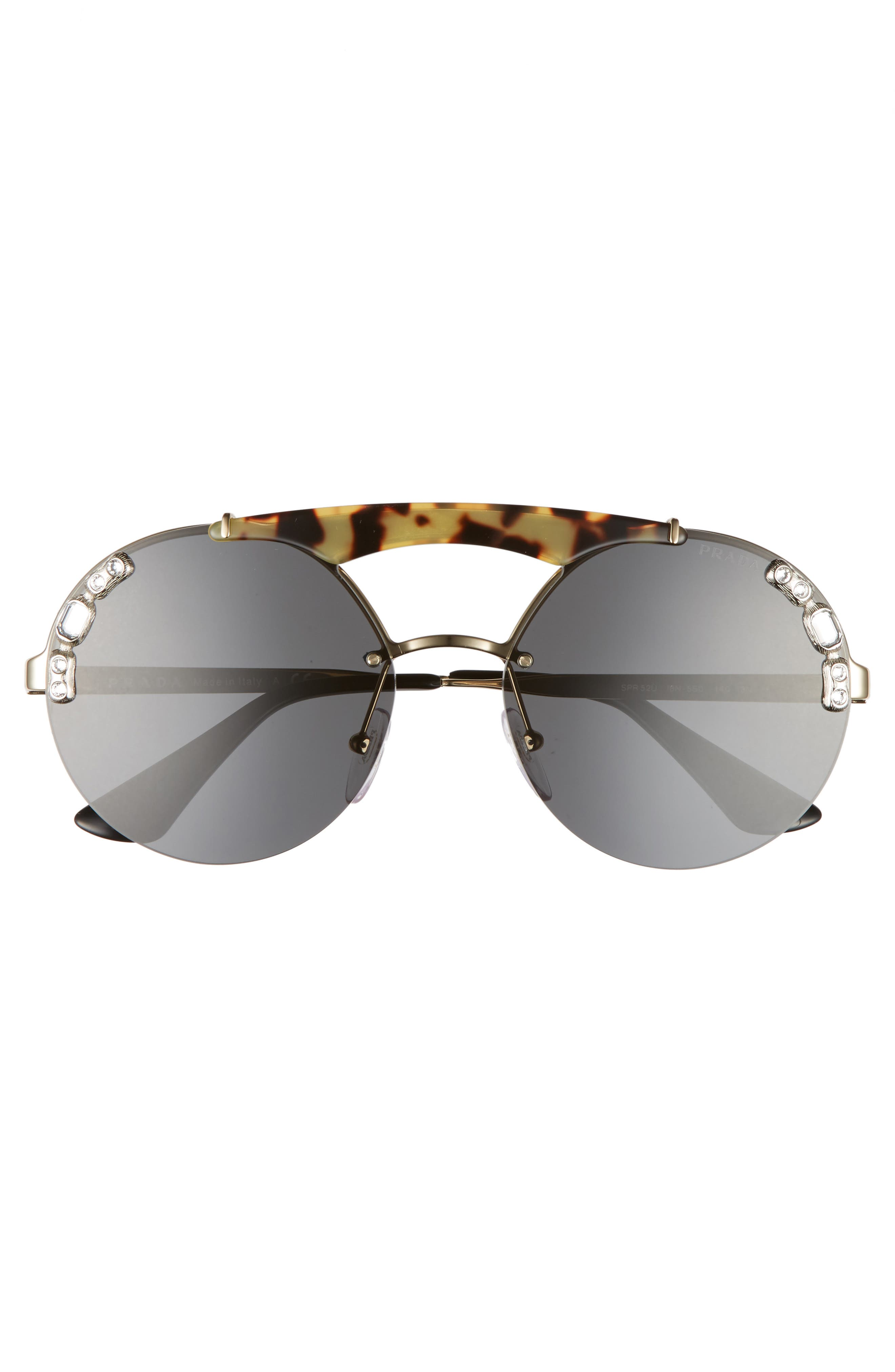 52mm Embellished Round Rimless Sunglasses,                             Alternate thumbnail 3, color,                             100
