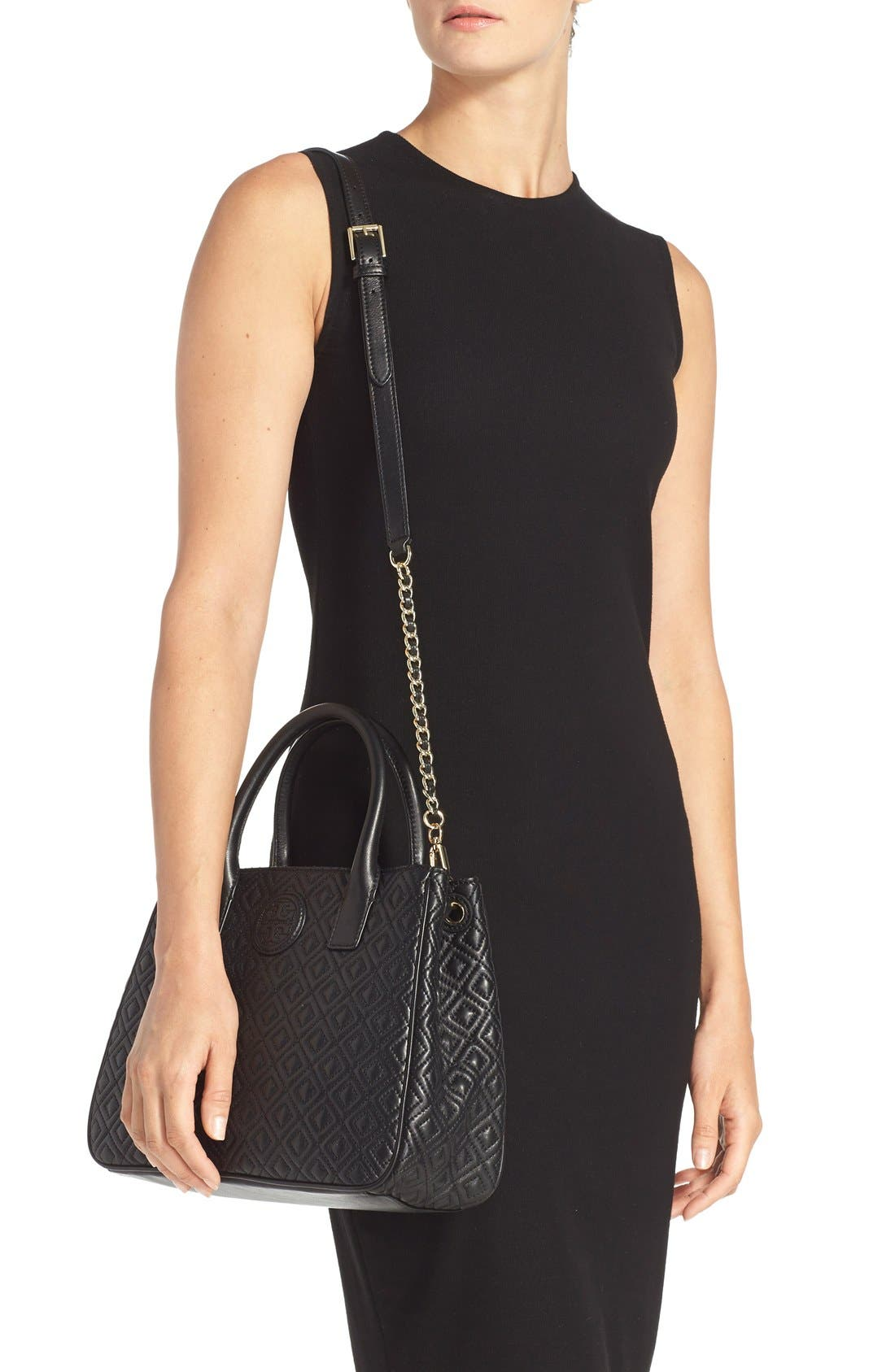 Marion Quilted Lambskin Tote,                             Alternate thumbnail 3, color,                             001